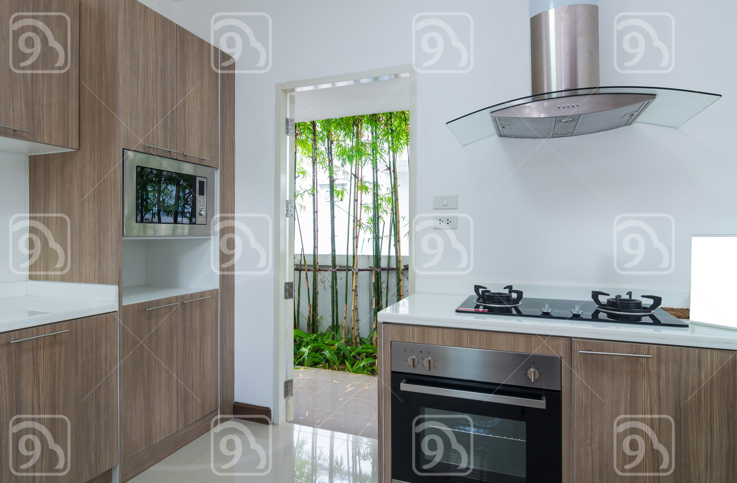 Kitchen interior with electric stove