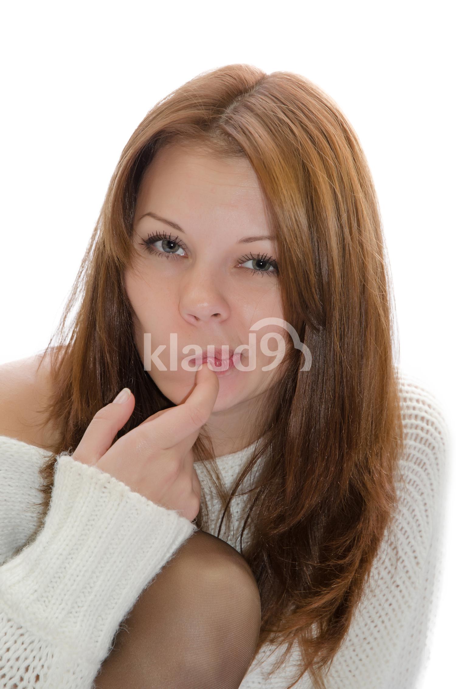 Pensive pretty girl.