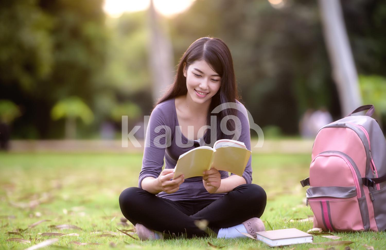 Thai female college student on campus