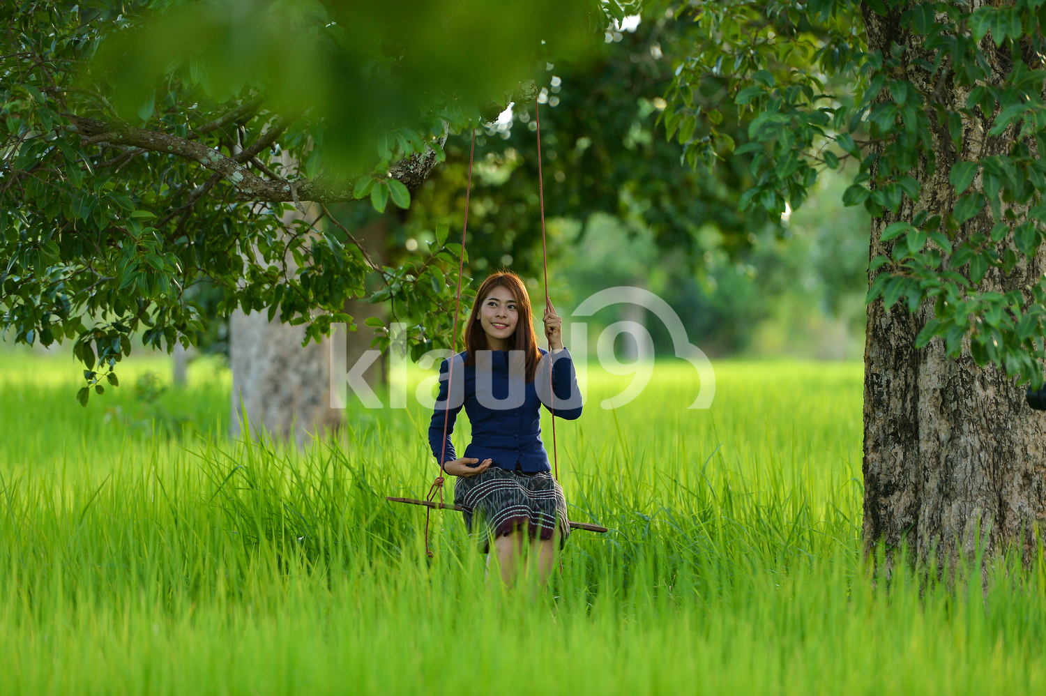 Portrait of a Thai lady in the fields