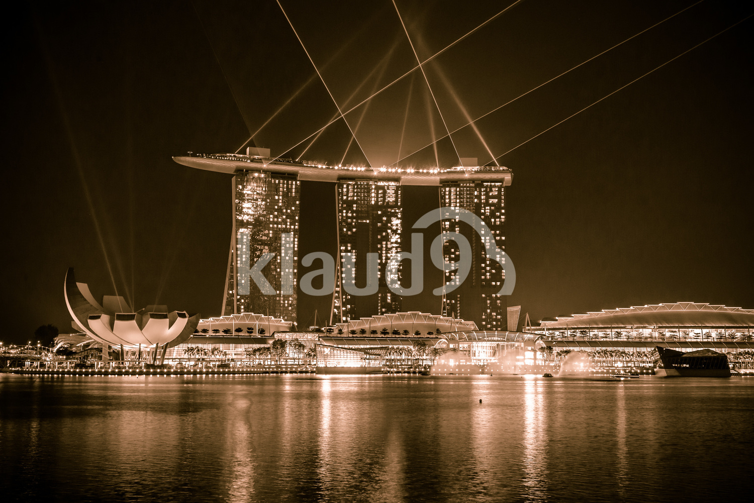 Marina Bay Sands laser show in Black and White