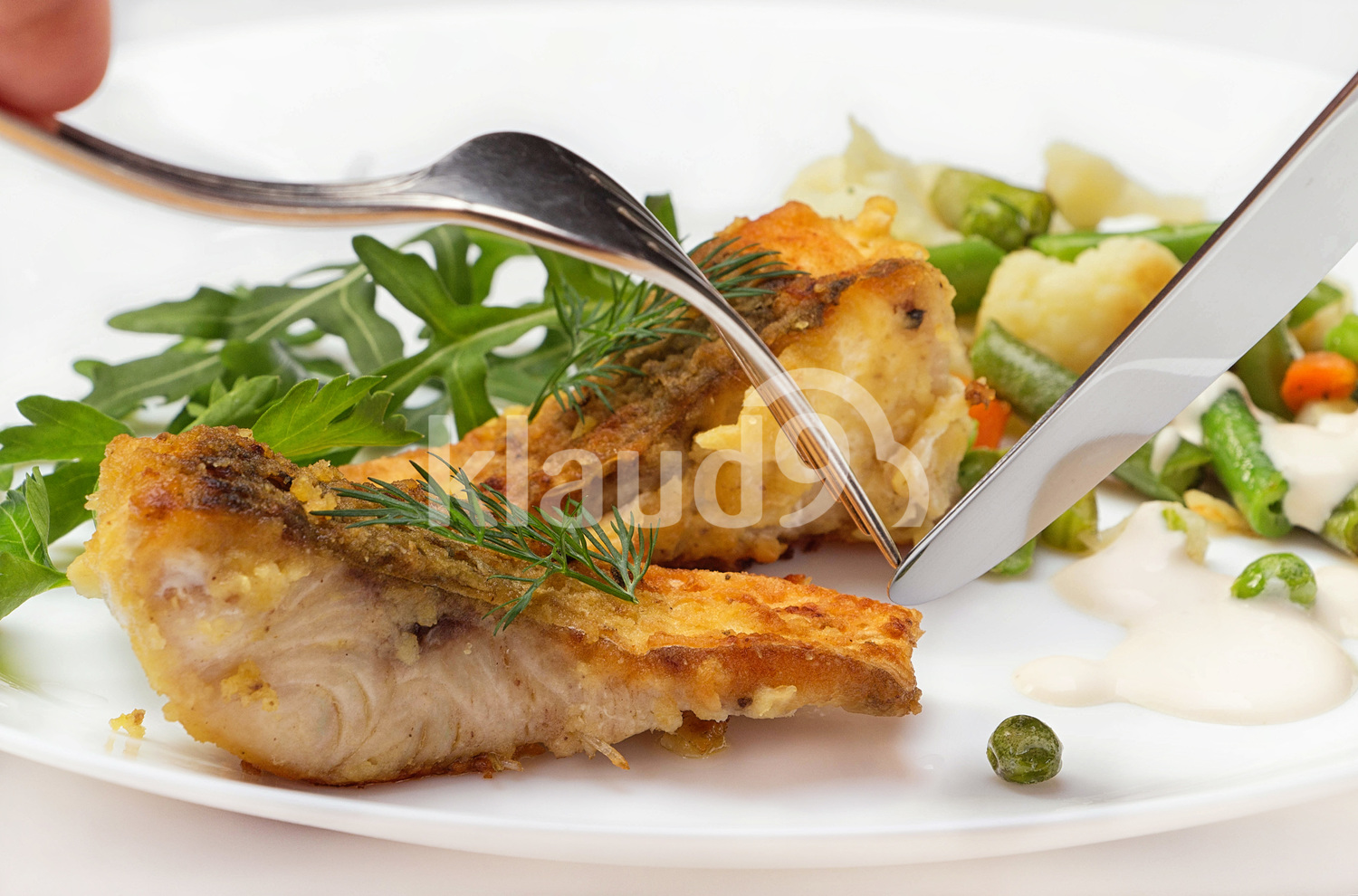 Slices of fried river fish with vegetables