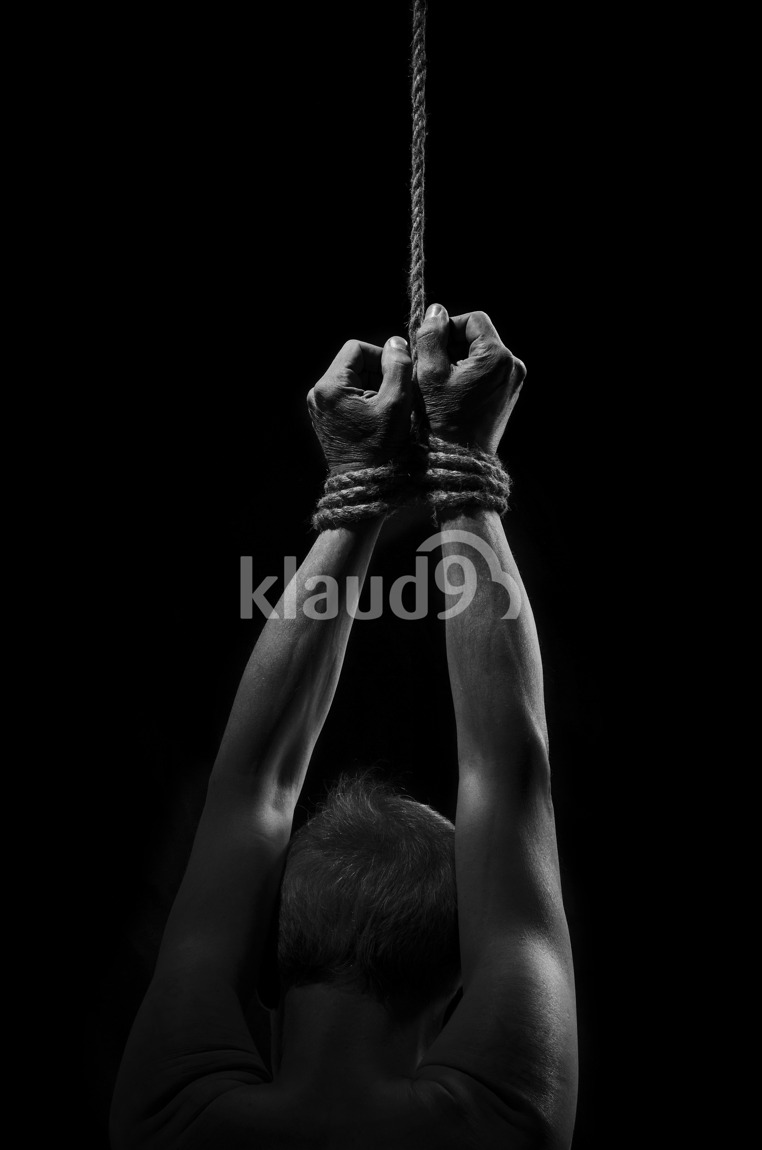 Suspended by ropes