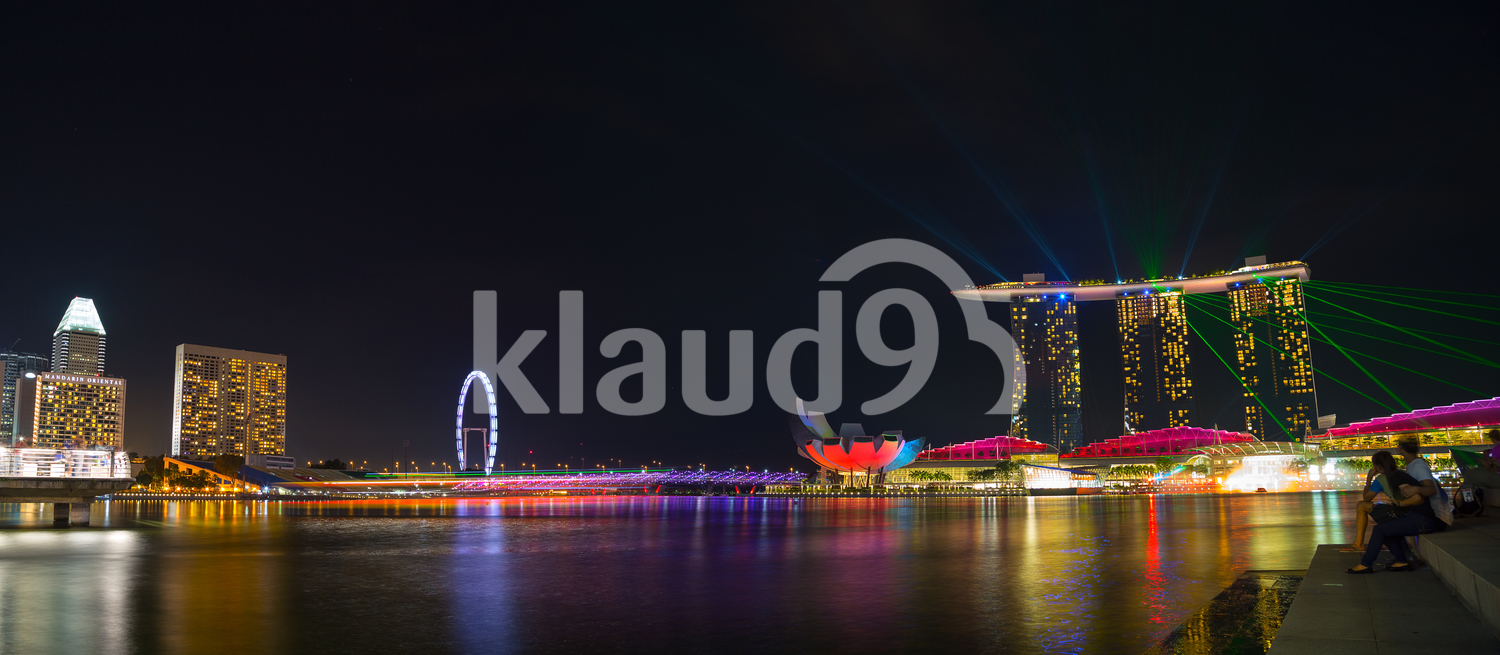 Laser Show projection from the top of the Marina Sands Singapore