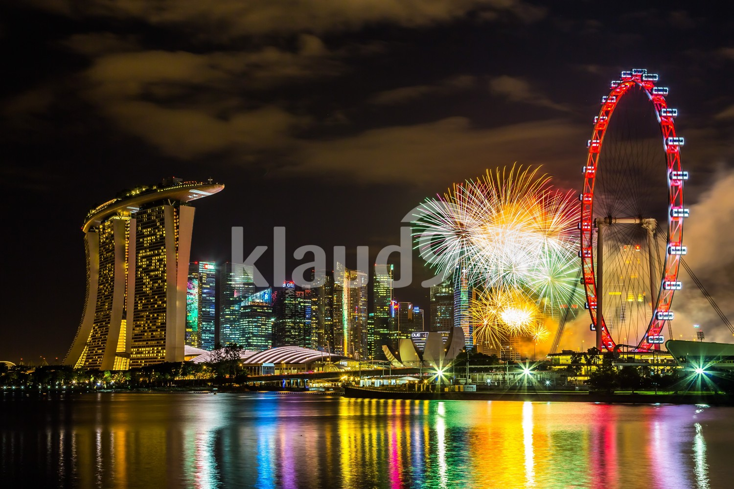 Singapore Cityscape and Fireworks