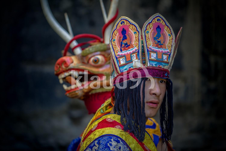Bhutanese mask dancers; Paro, Bhutan