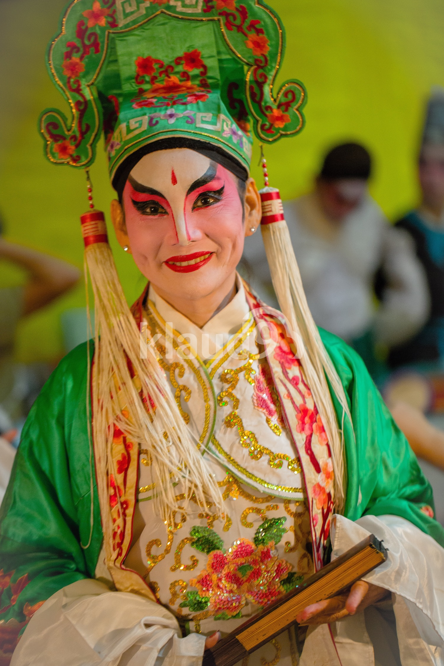 Painted faces, Chinese Street Opera; Singapore