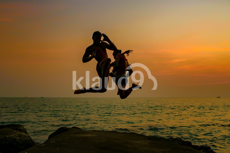 Khmer boxing at dusk; Sihanoukville, Cambodia