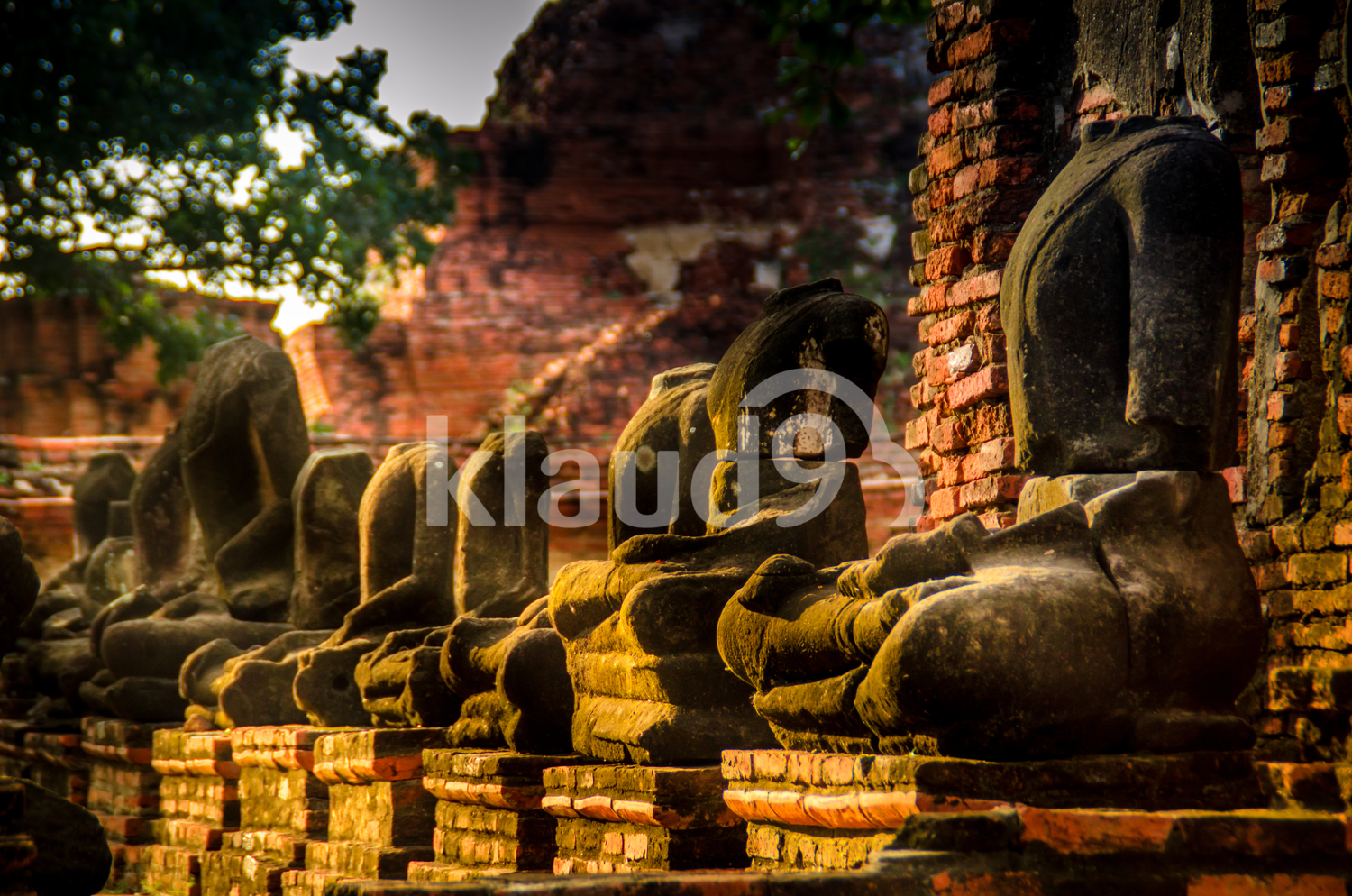 Imperfect buddha statues in Wat Mahathat, Ayutthaya Historical Park Siam