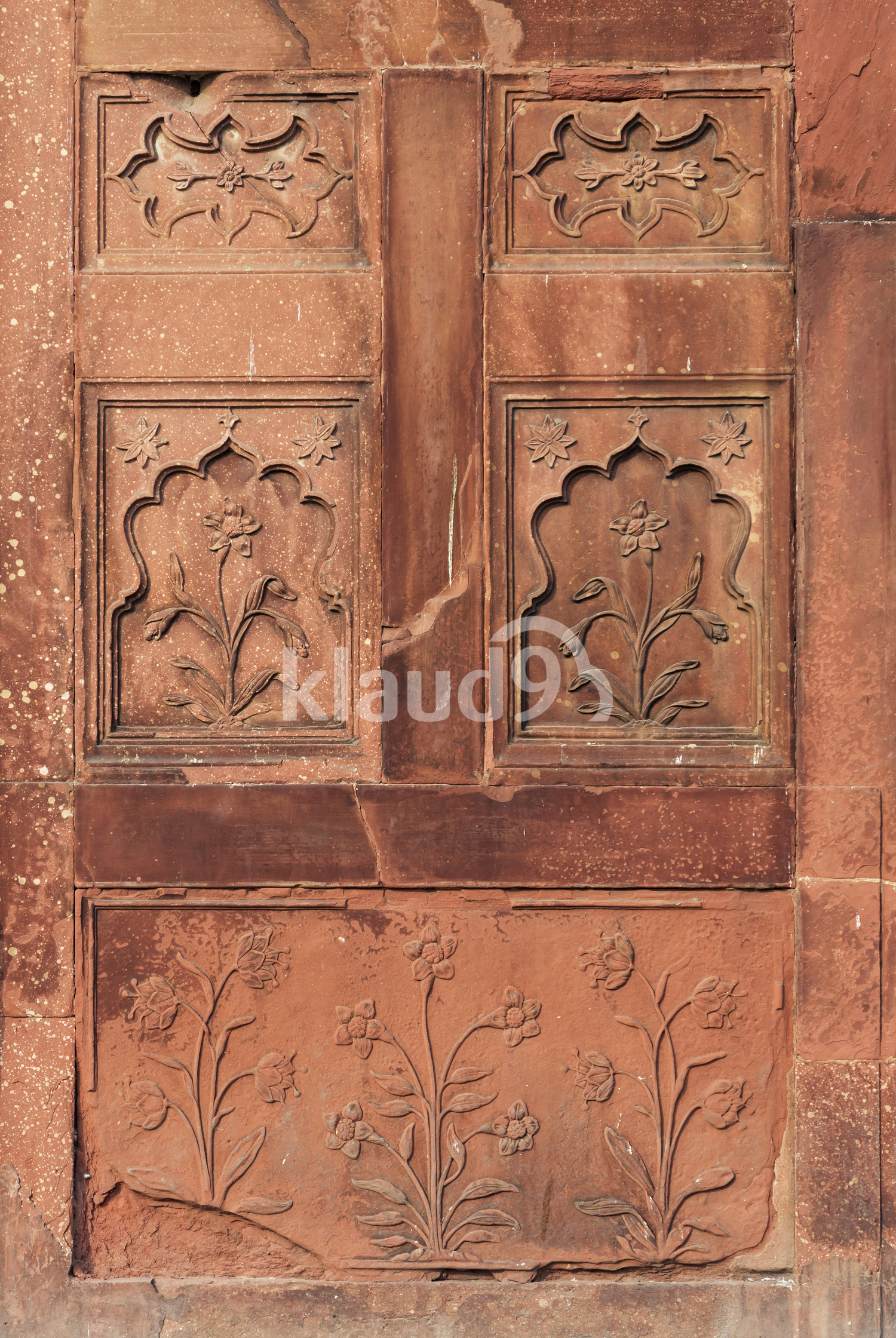 Close of wall details in Red Fort, Old Delhi