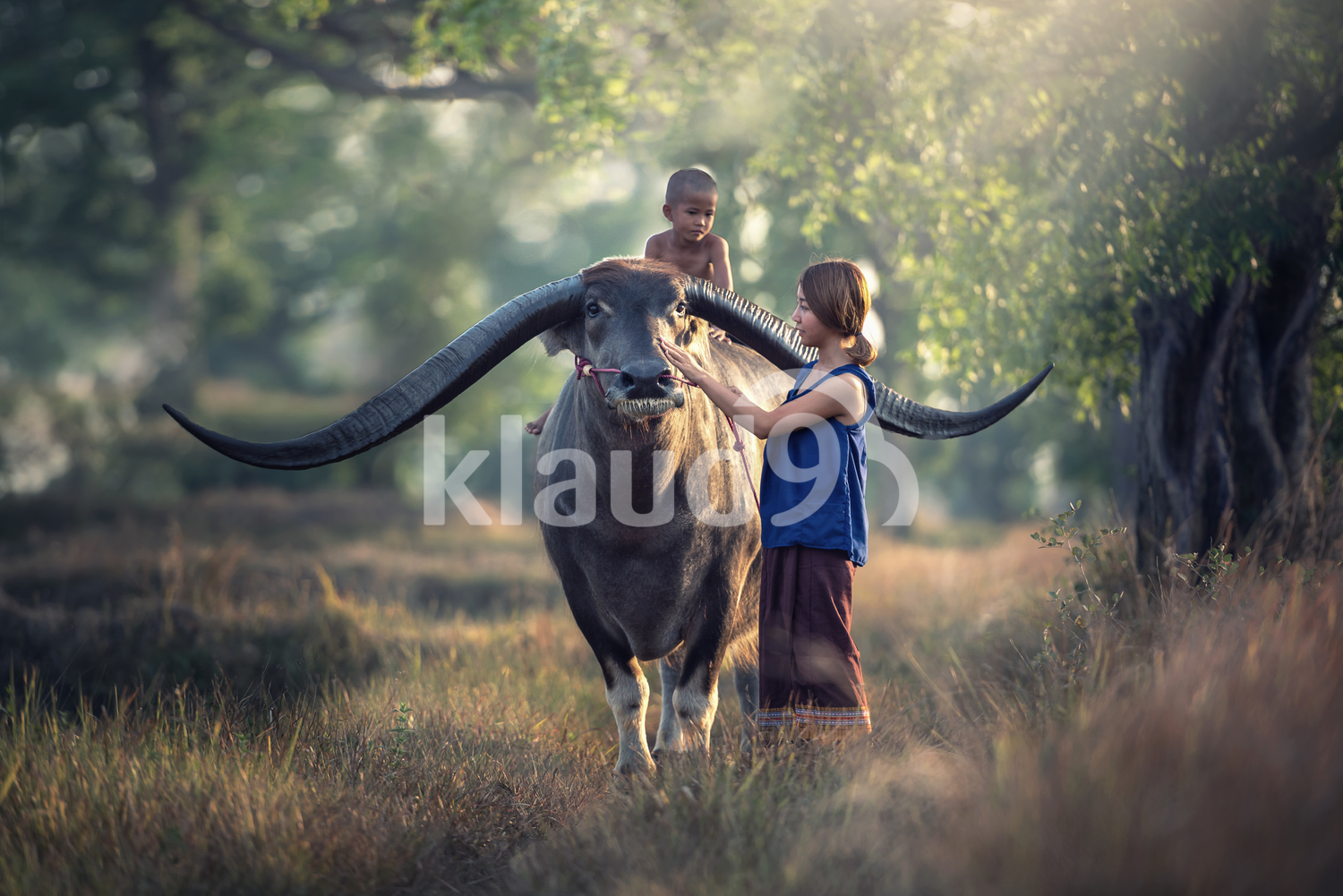 Mother with son riding a buffalo in the field