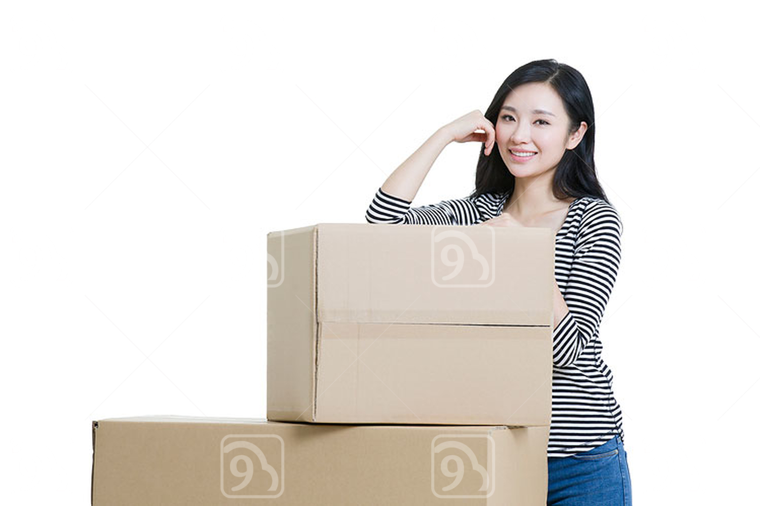Young Chinese woman moving house