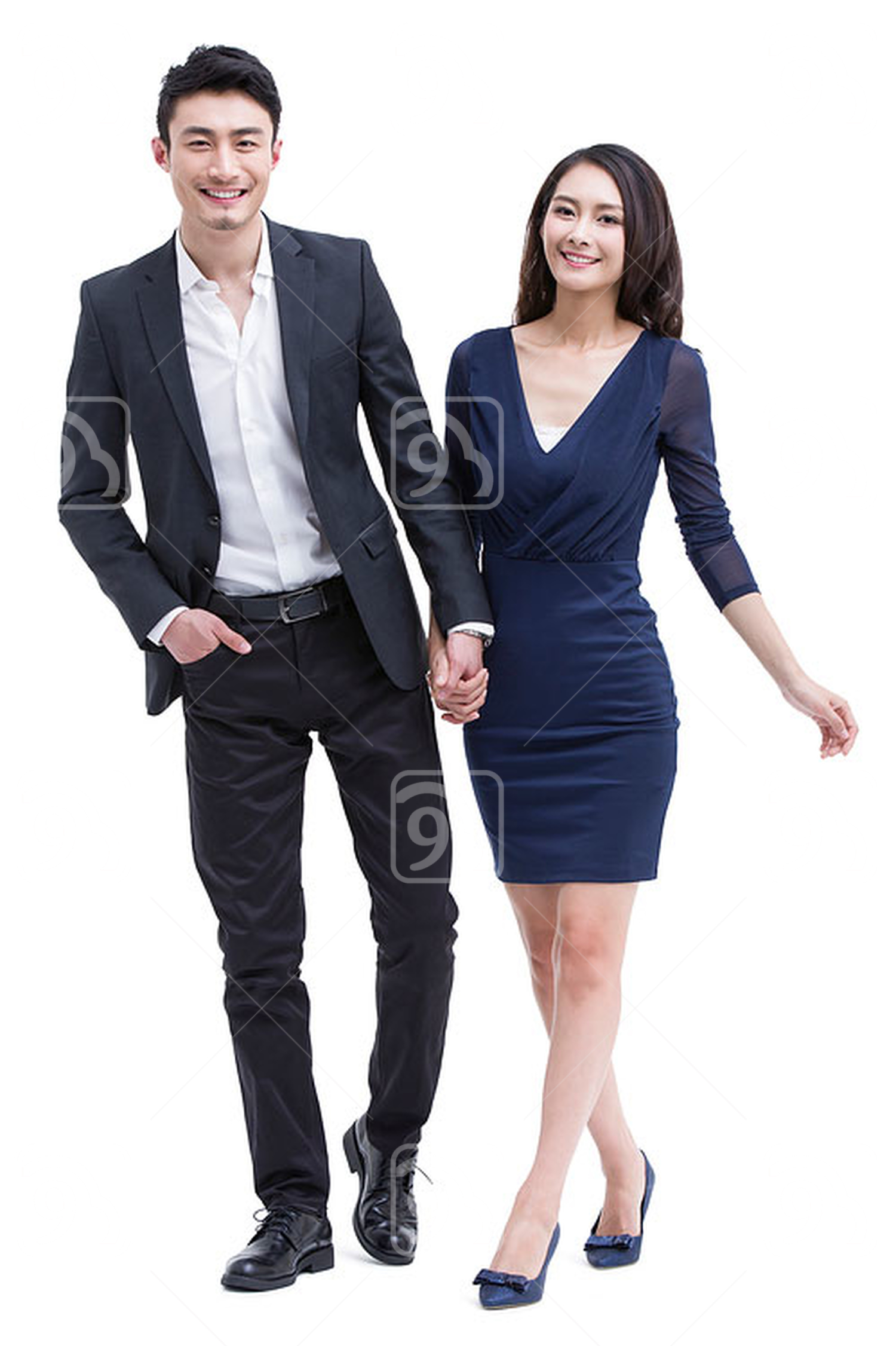 Young Chinese couple holding hands