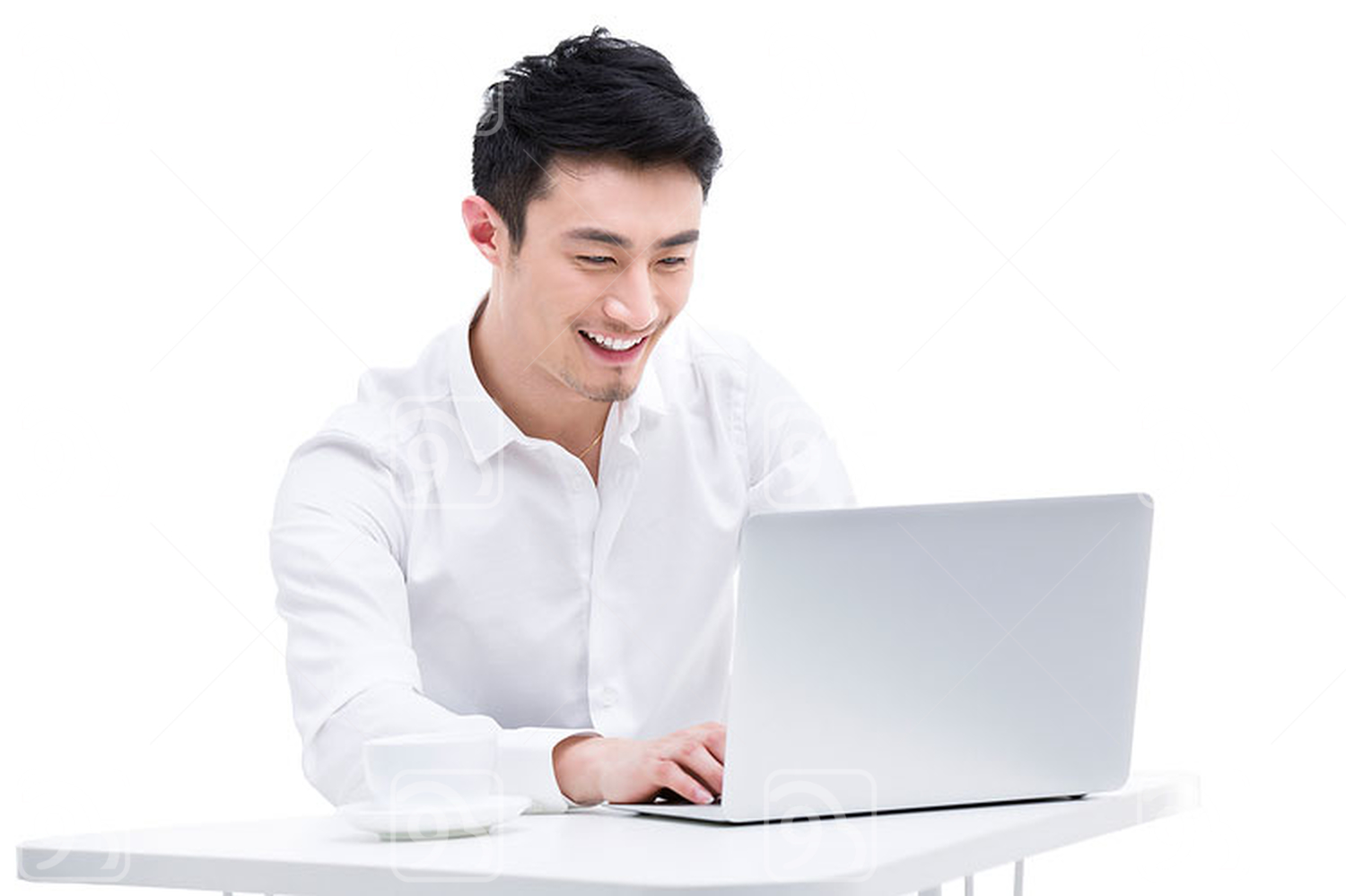 Young Chinese businessman using laptop