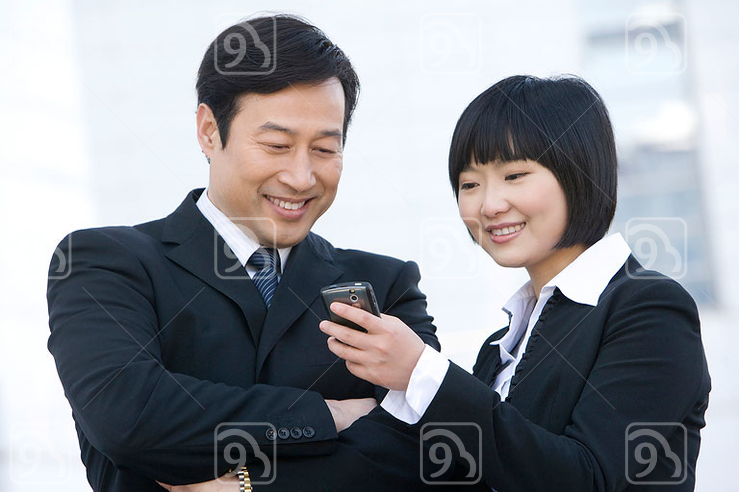 Chinese business people staying connected
