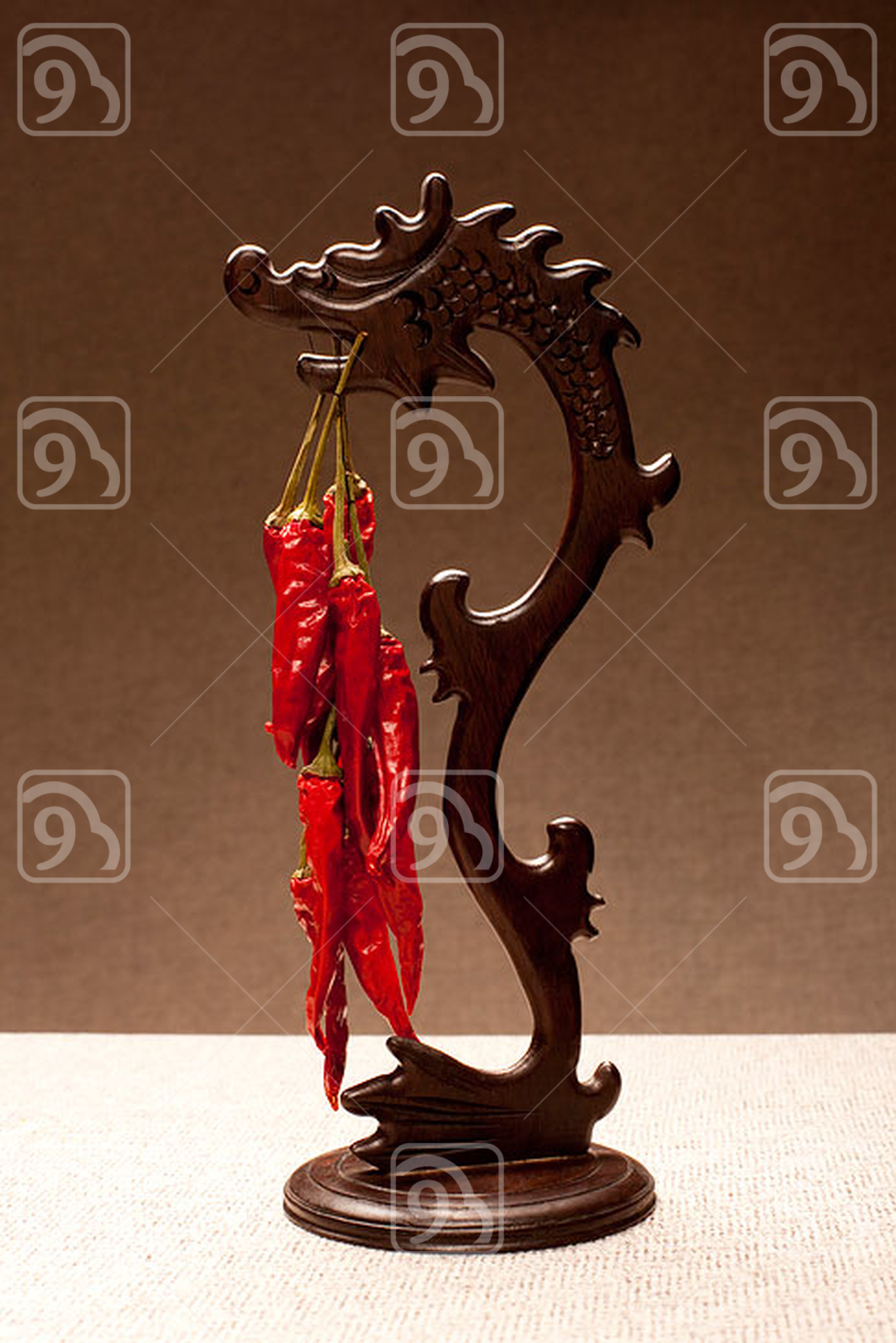Chinese dragon and dry red pepper