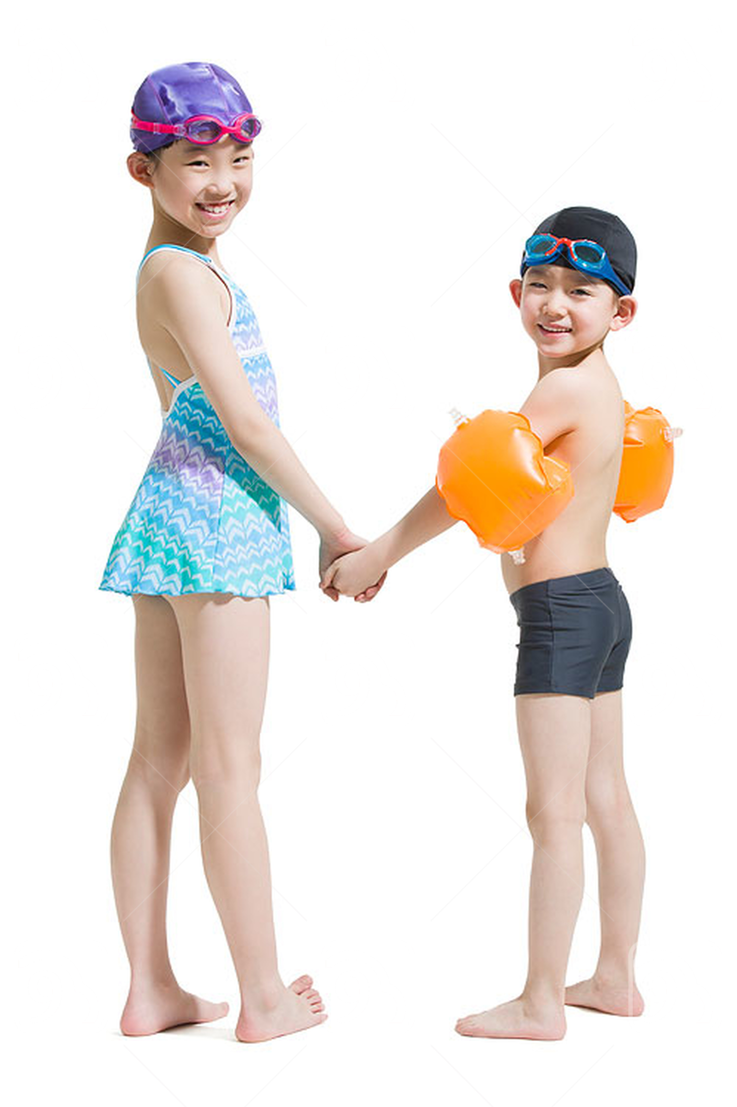 Cute Chinese children in swimsuit