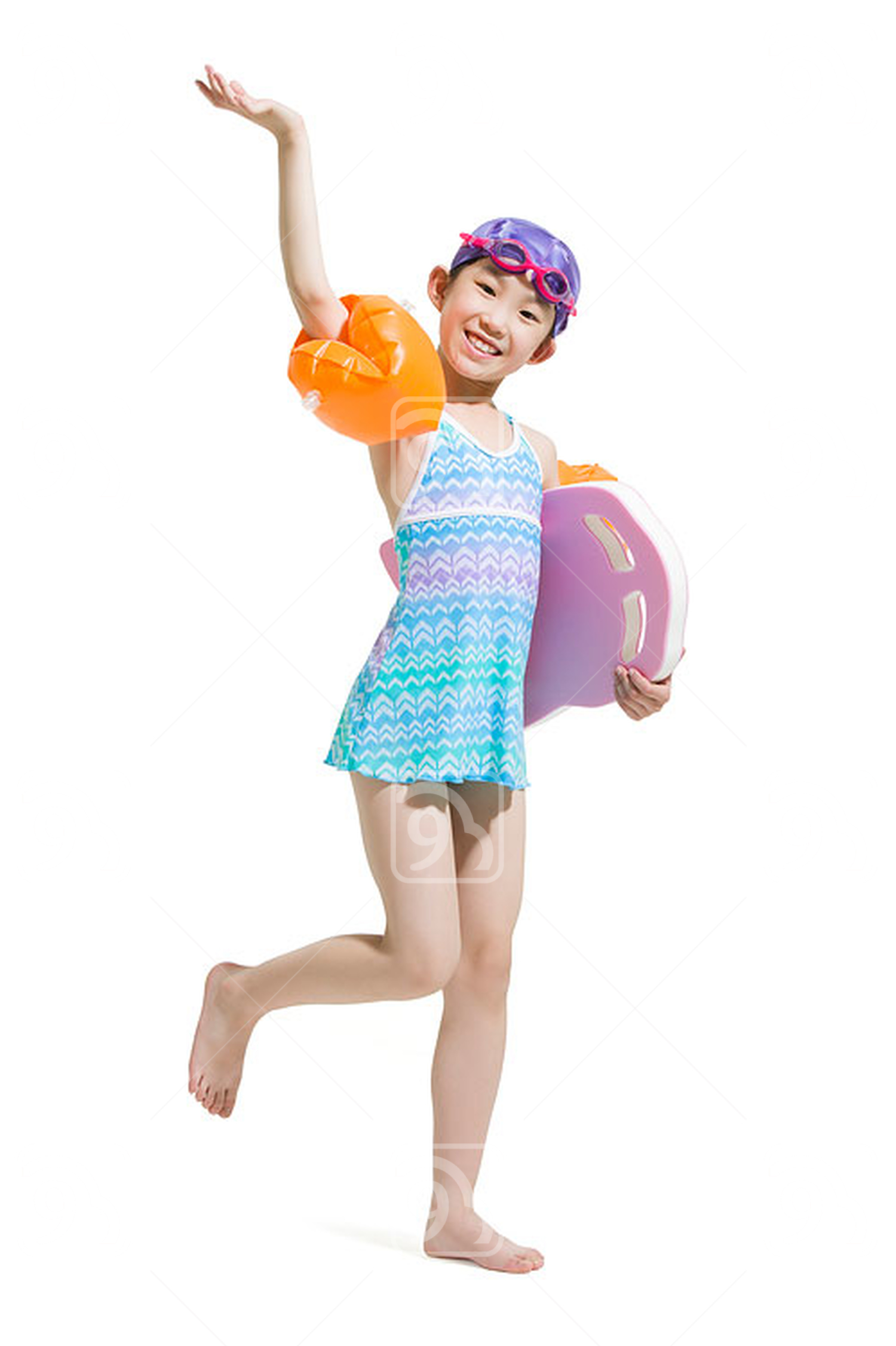 Cute Chinese girl in swimsuit with water wings