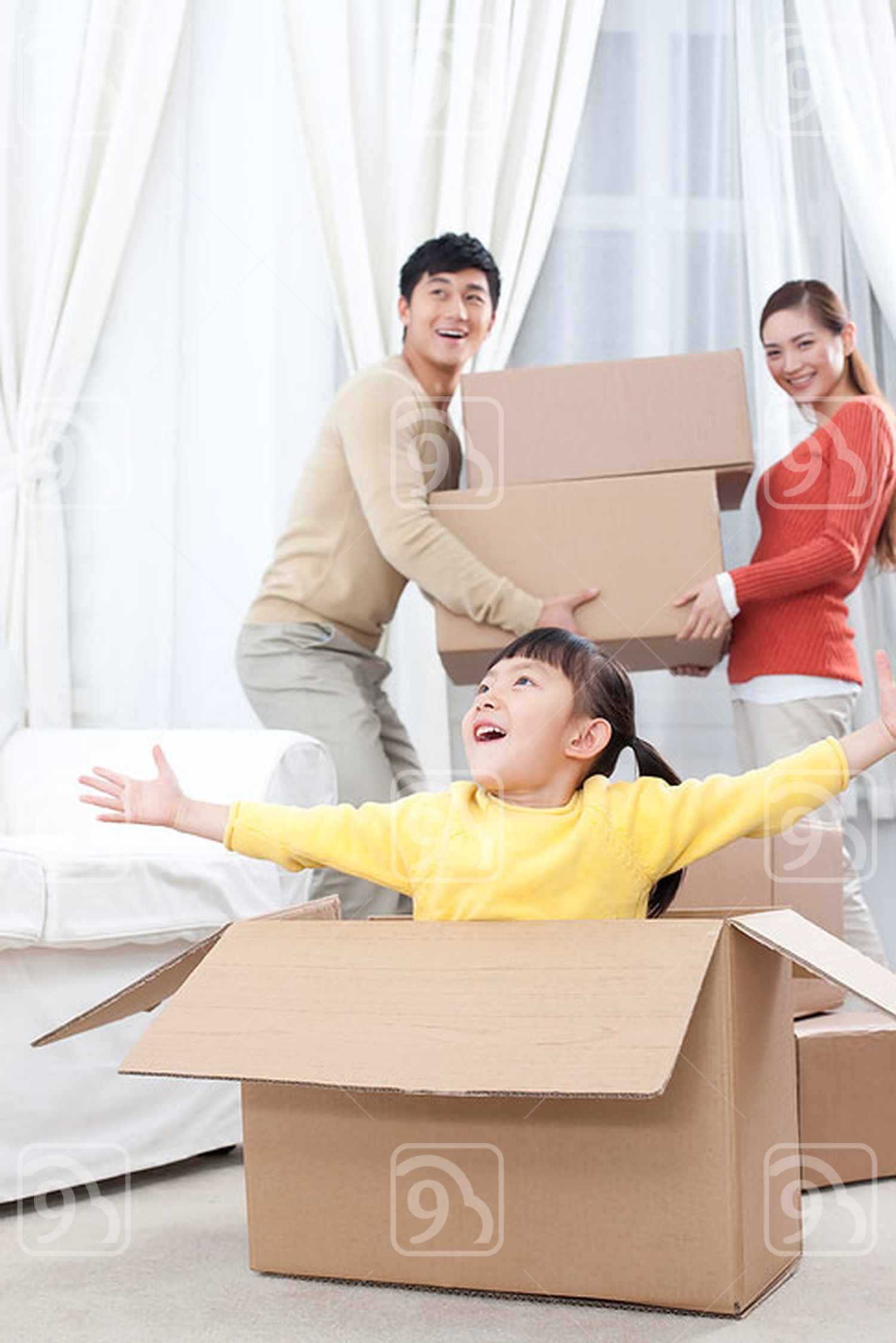 Chinese family moving to a new house