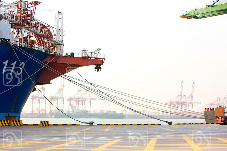 Cargo ship in shipping port