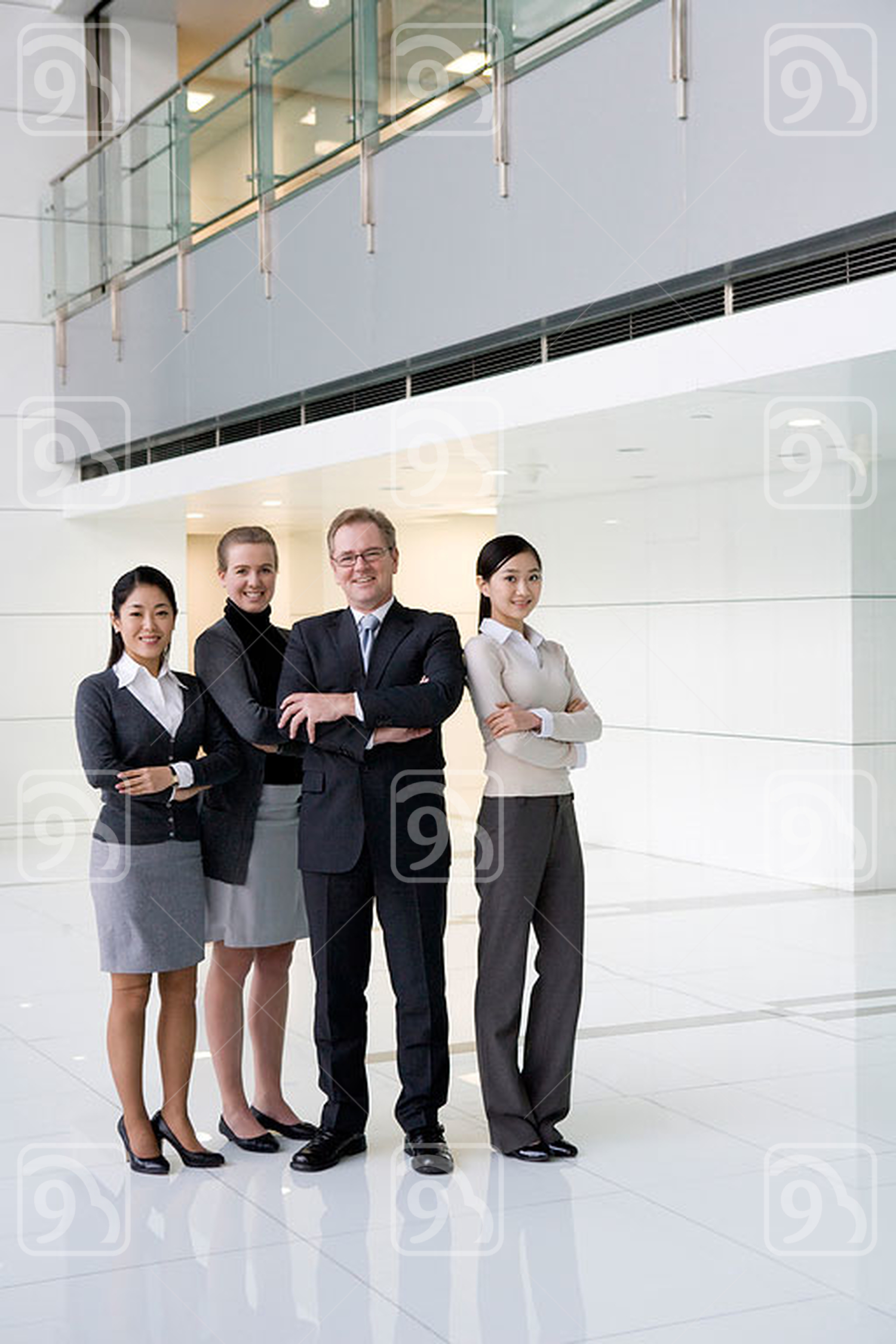 Businesspeople in the lobby