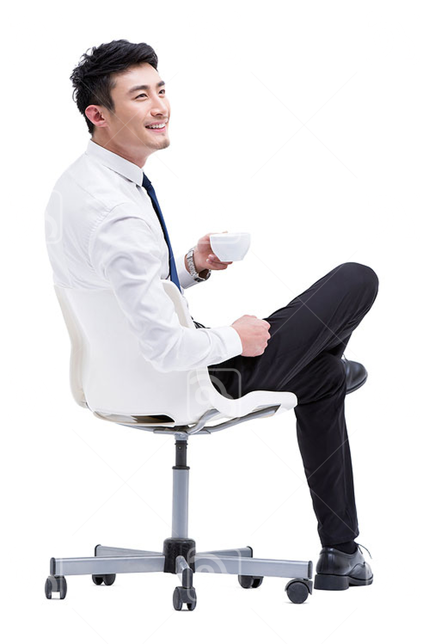 Young Chinese businessman drinking coffee