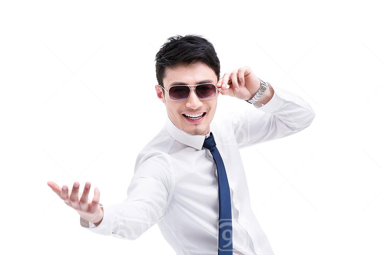 Fashionable Chinese businessman celebrating success
