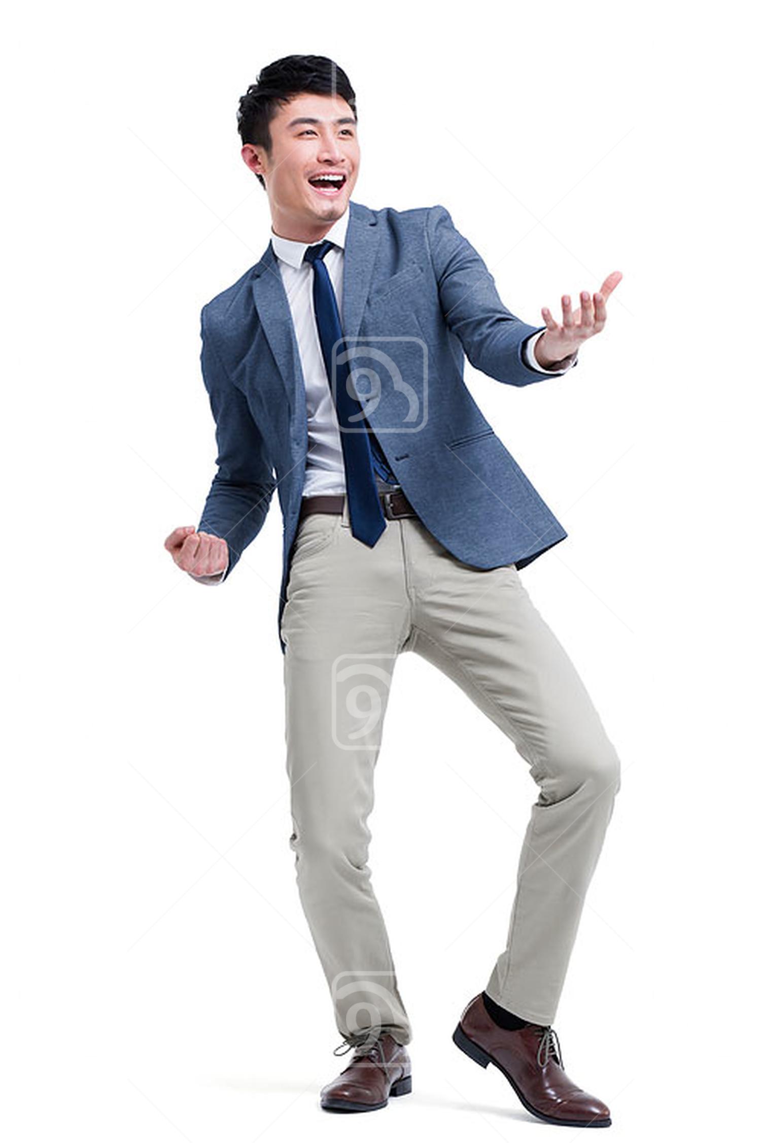 Fashionable Chinese businessman celebrating for success
