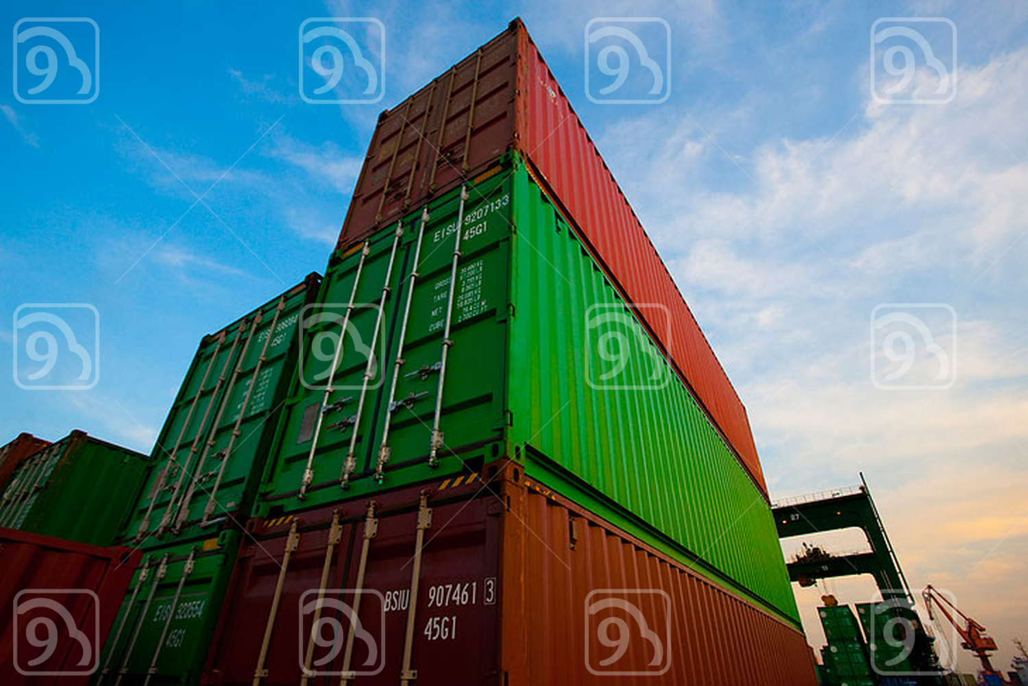 Cargo containers at dusk