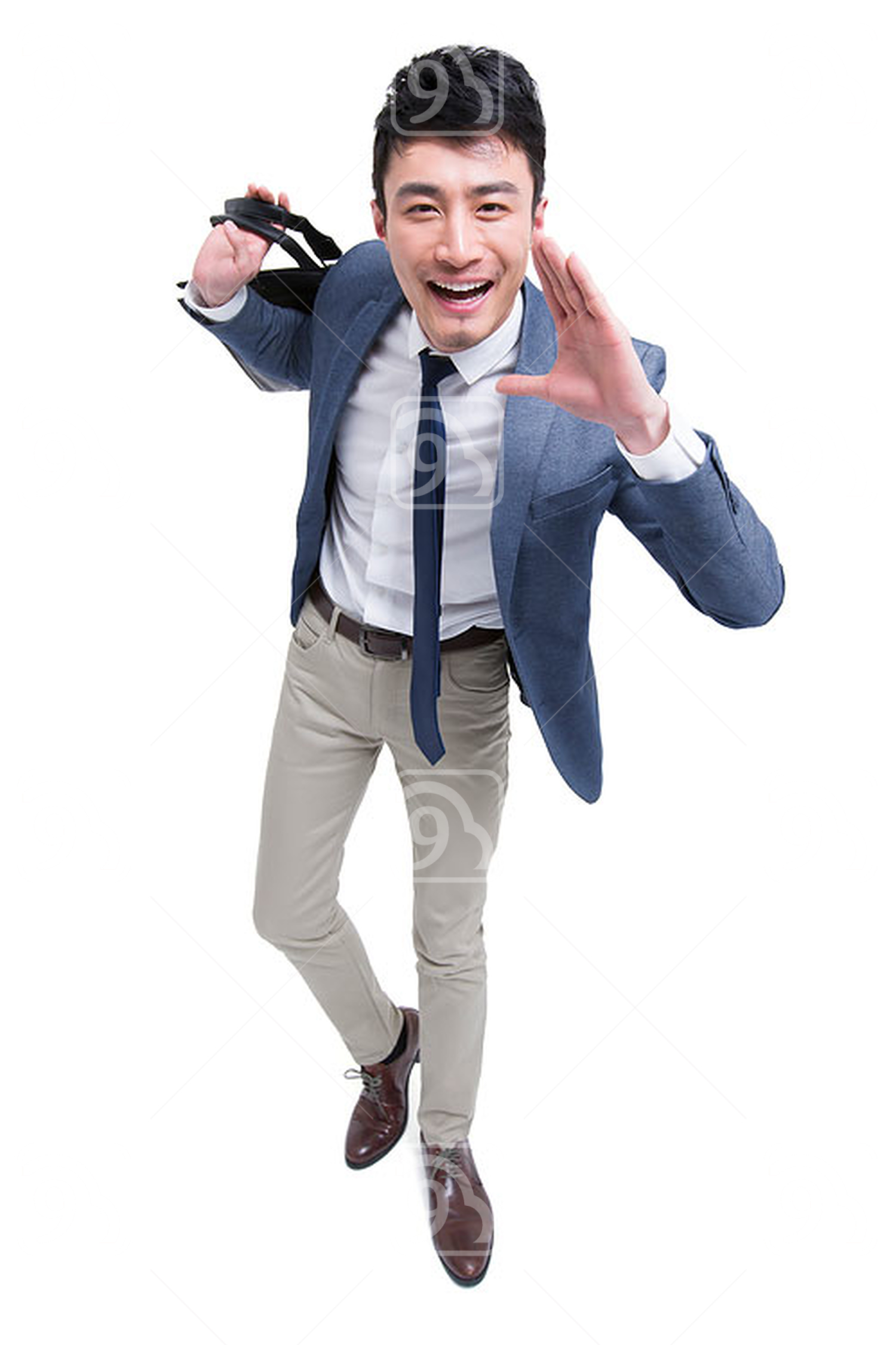 Happy Chinese businessman shouting