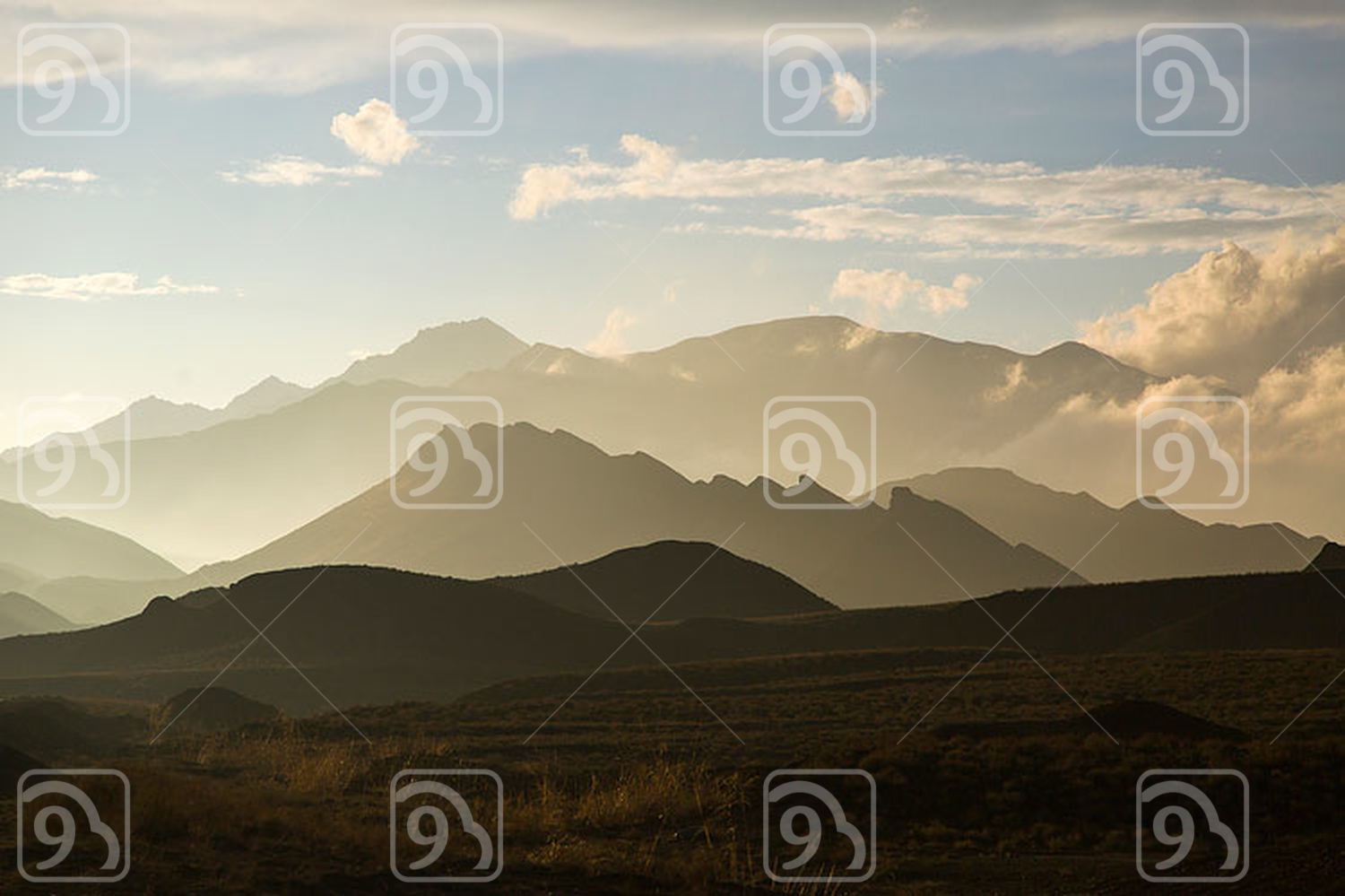 Mountain range and sky in Gansu province, China