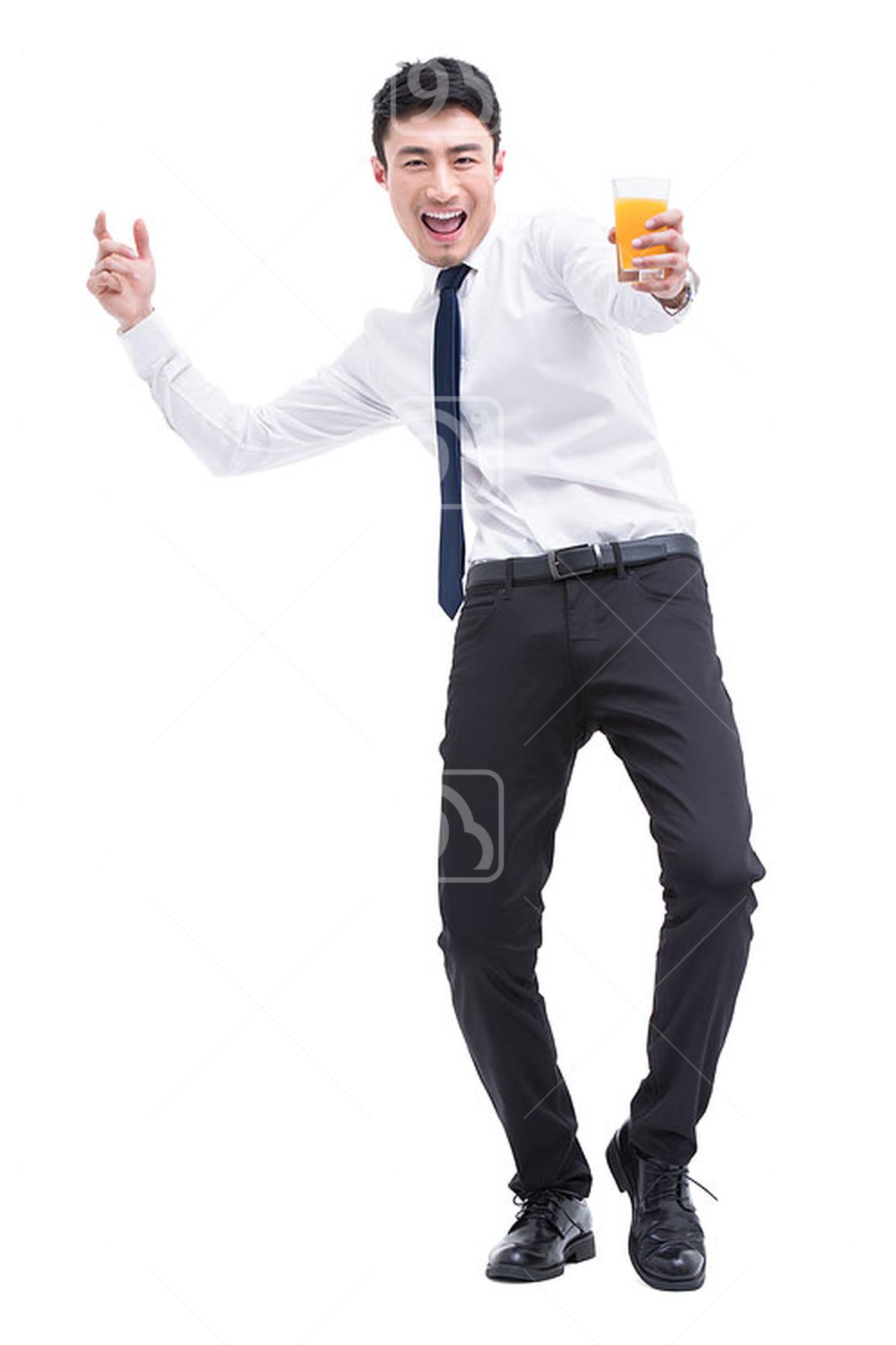 Young Chinese businessman drinking orange juice