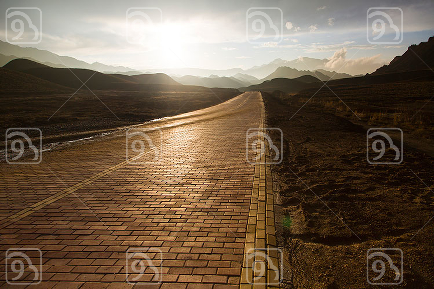 Road and mountain range in Gansu province, China