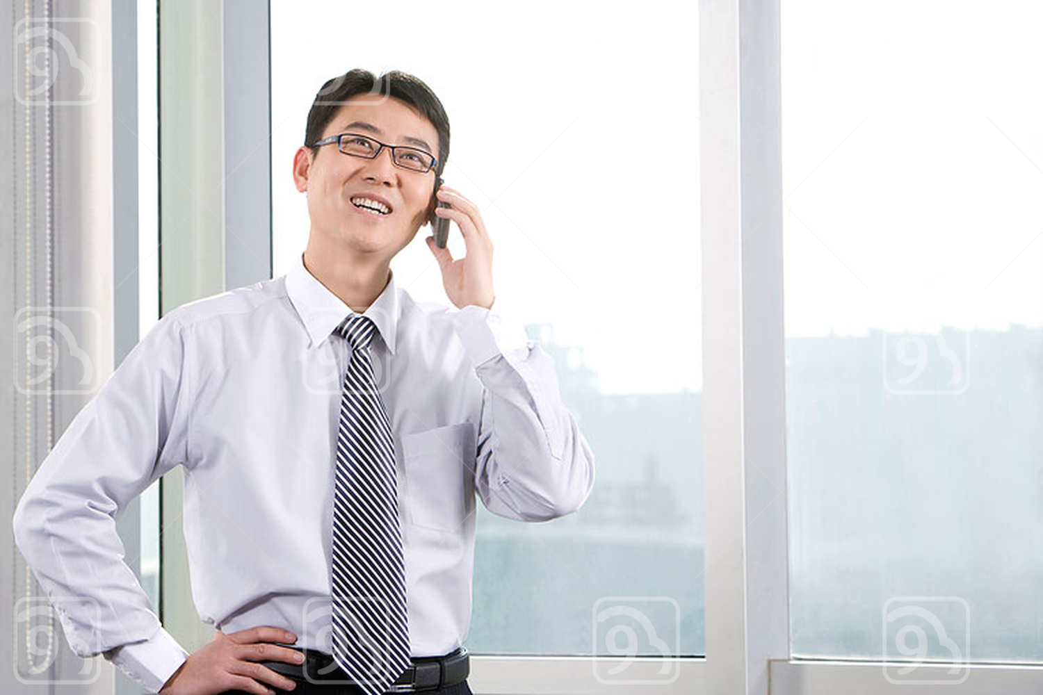 Chinese businessman on the phone