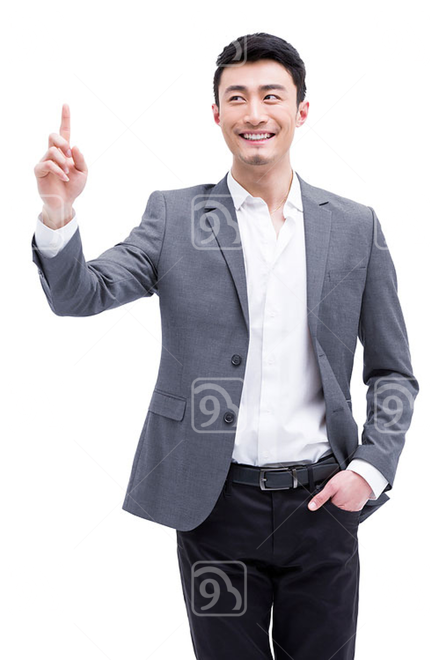 Fashionable Chinese businessman raising finger up