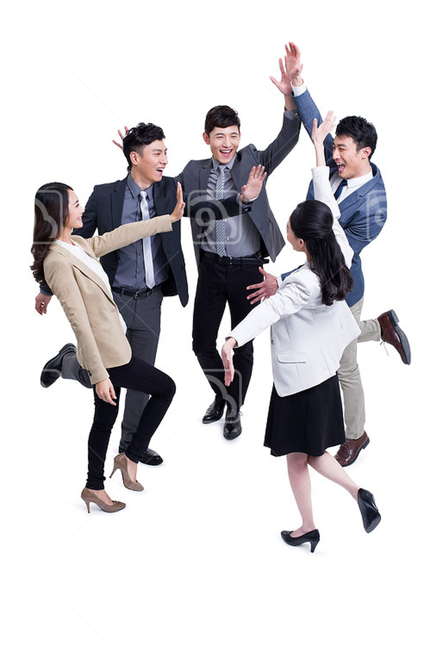 Excited Chinese business coworkers celebrating