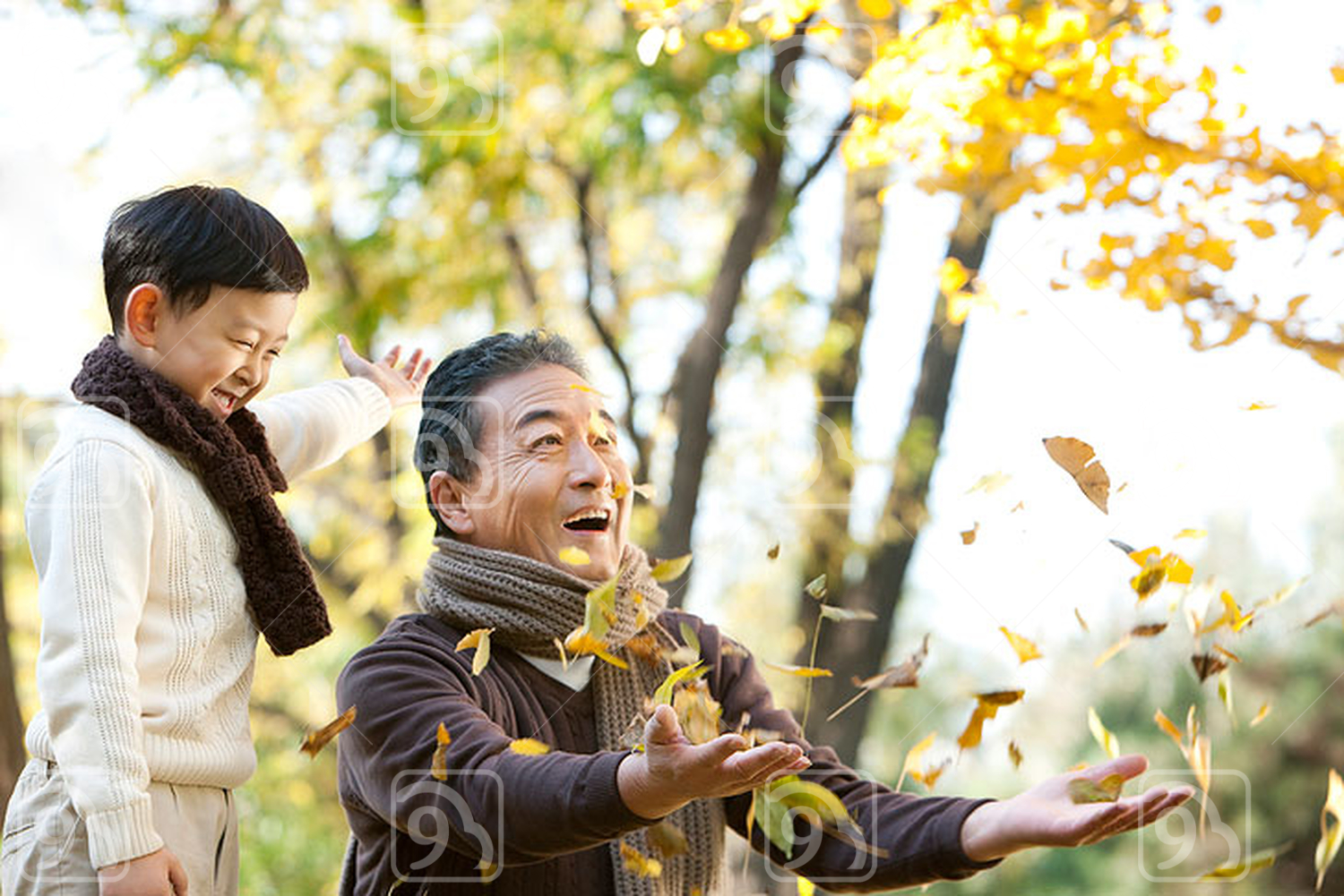 Chinese boy with grandfather watching leaves fall
