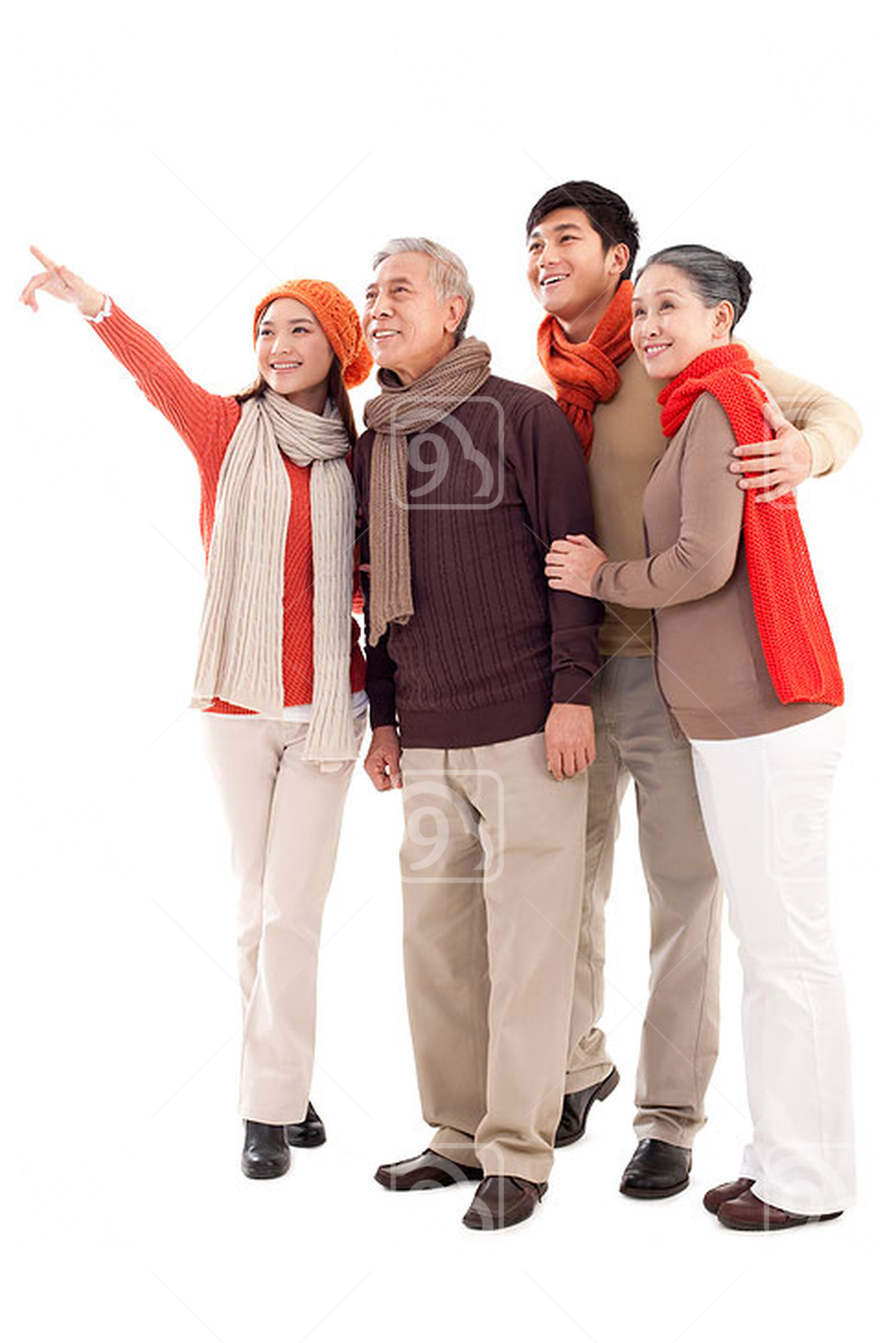 Chinese family members looking afar and pointing the front
