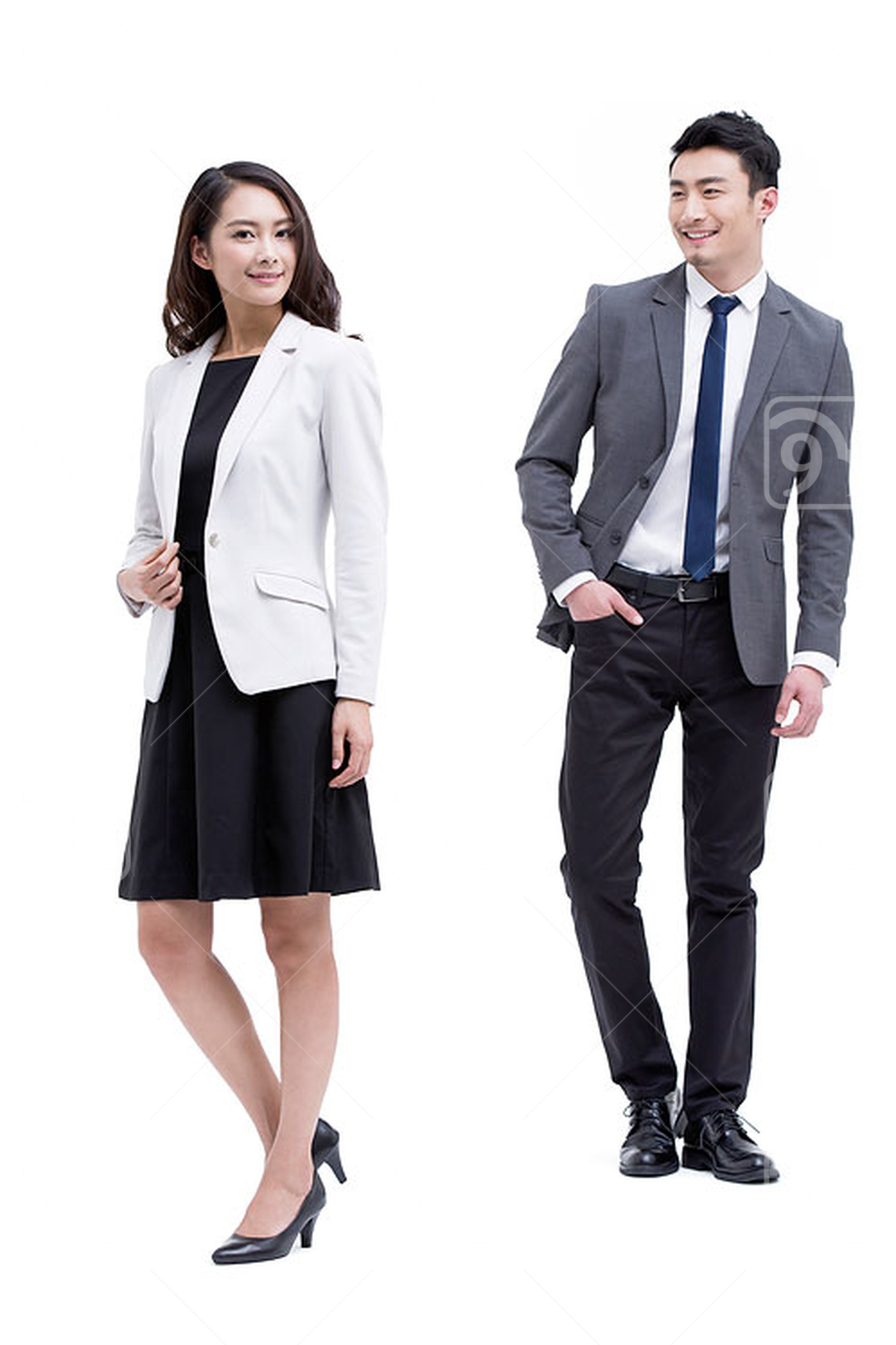 Young Chinese businessman and businesswoman
