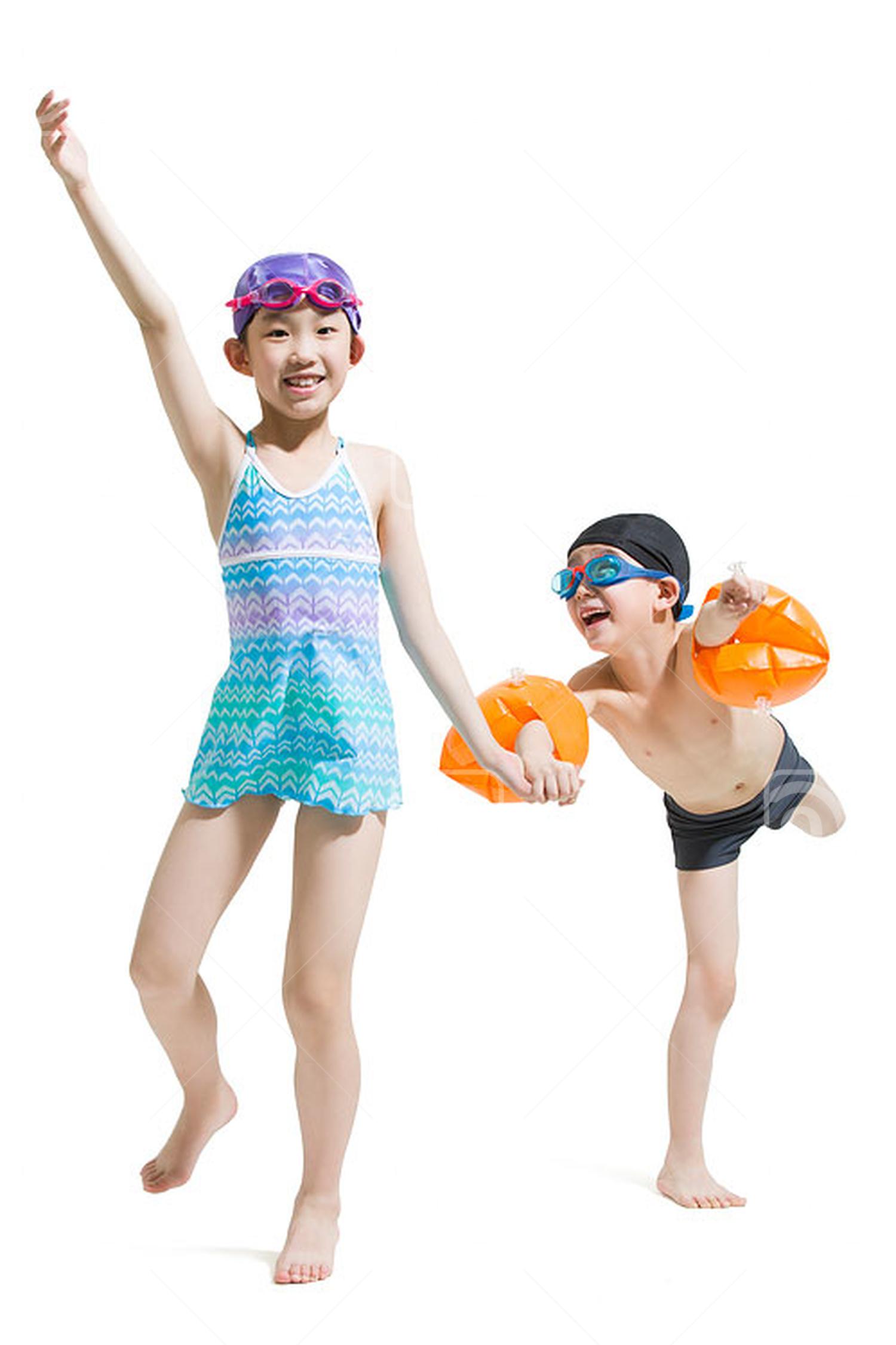 Cute Chinese children in swimsuit running