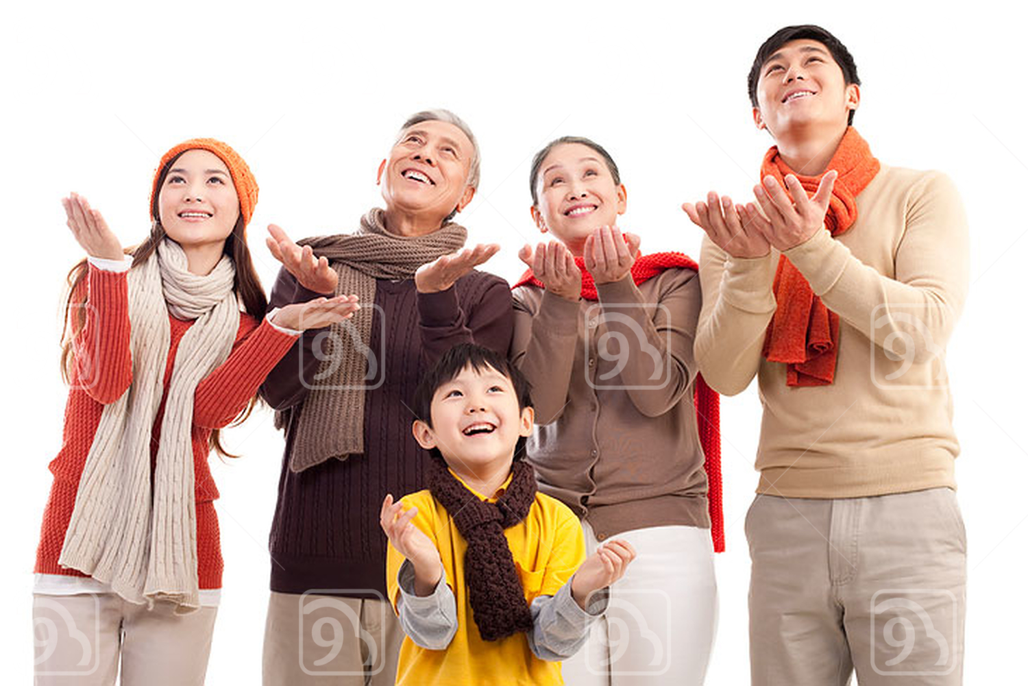 Chinese family members hands cupped