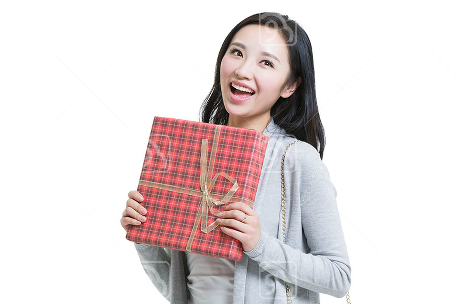 Young Chinese woman holding a gift