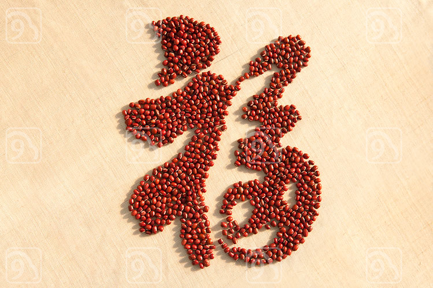 Chinese calligraphy made of red beans