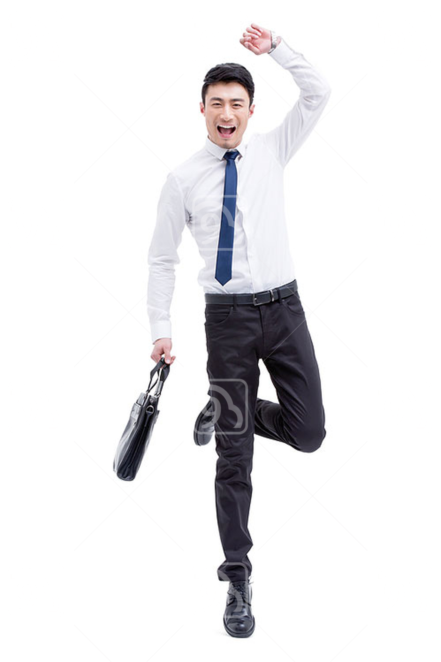 Cheerful Chinese businessman jumping
