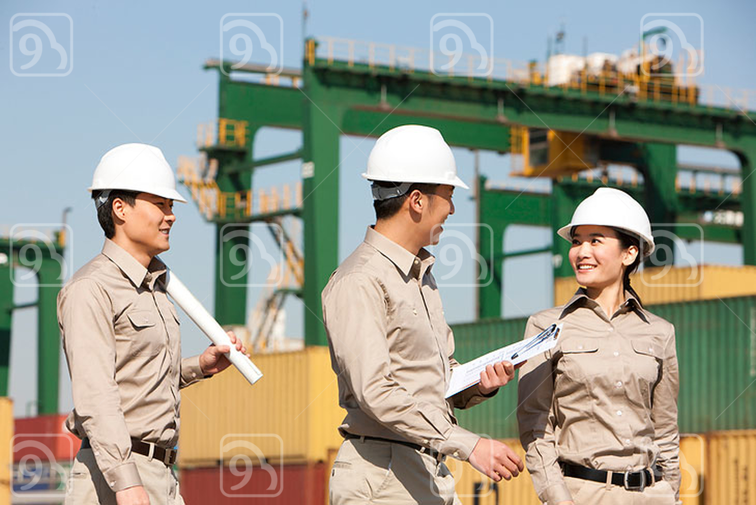 Chinese shipping industry workers talking