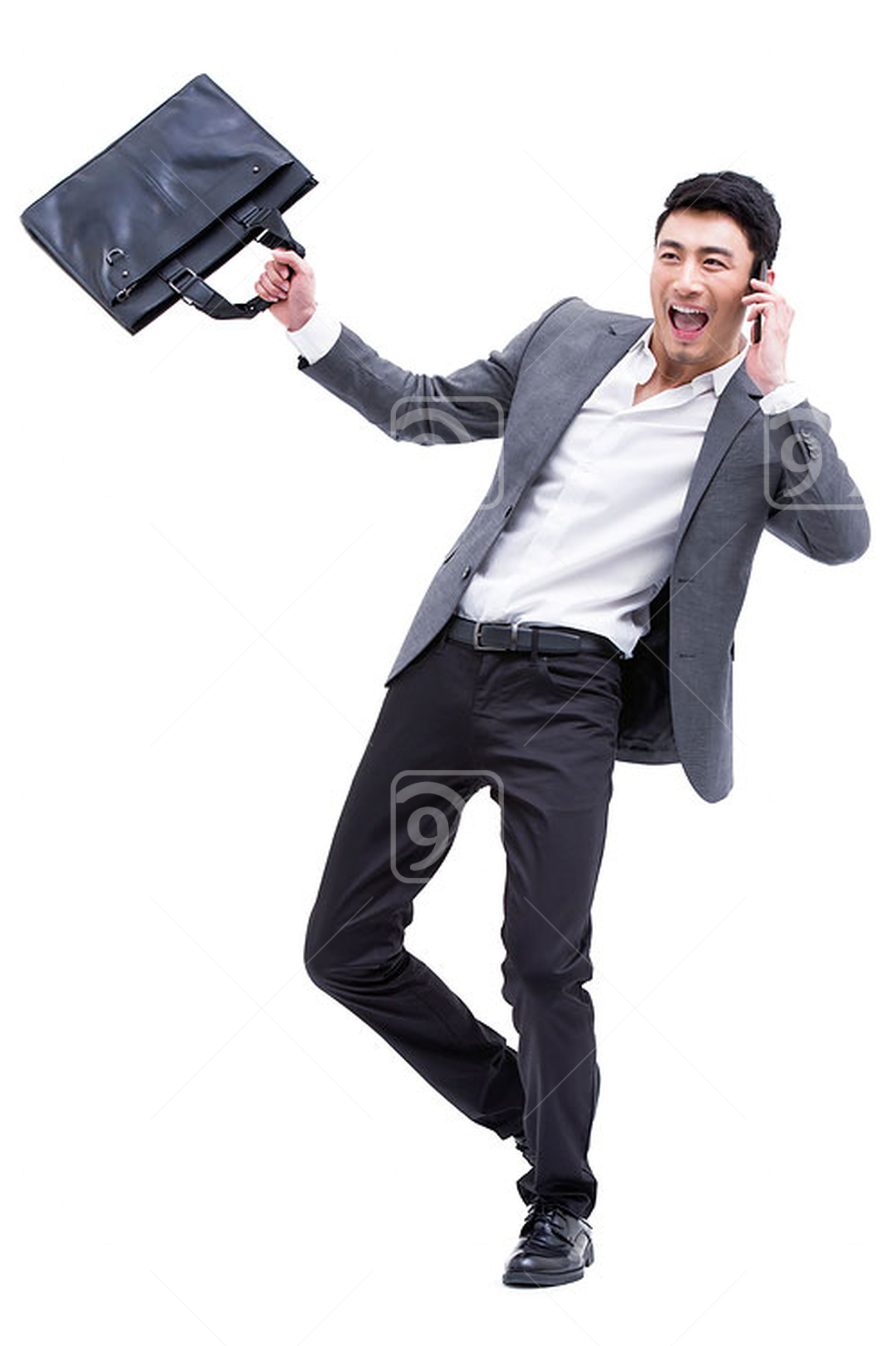 Fashionable Chinese businessman on the phone