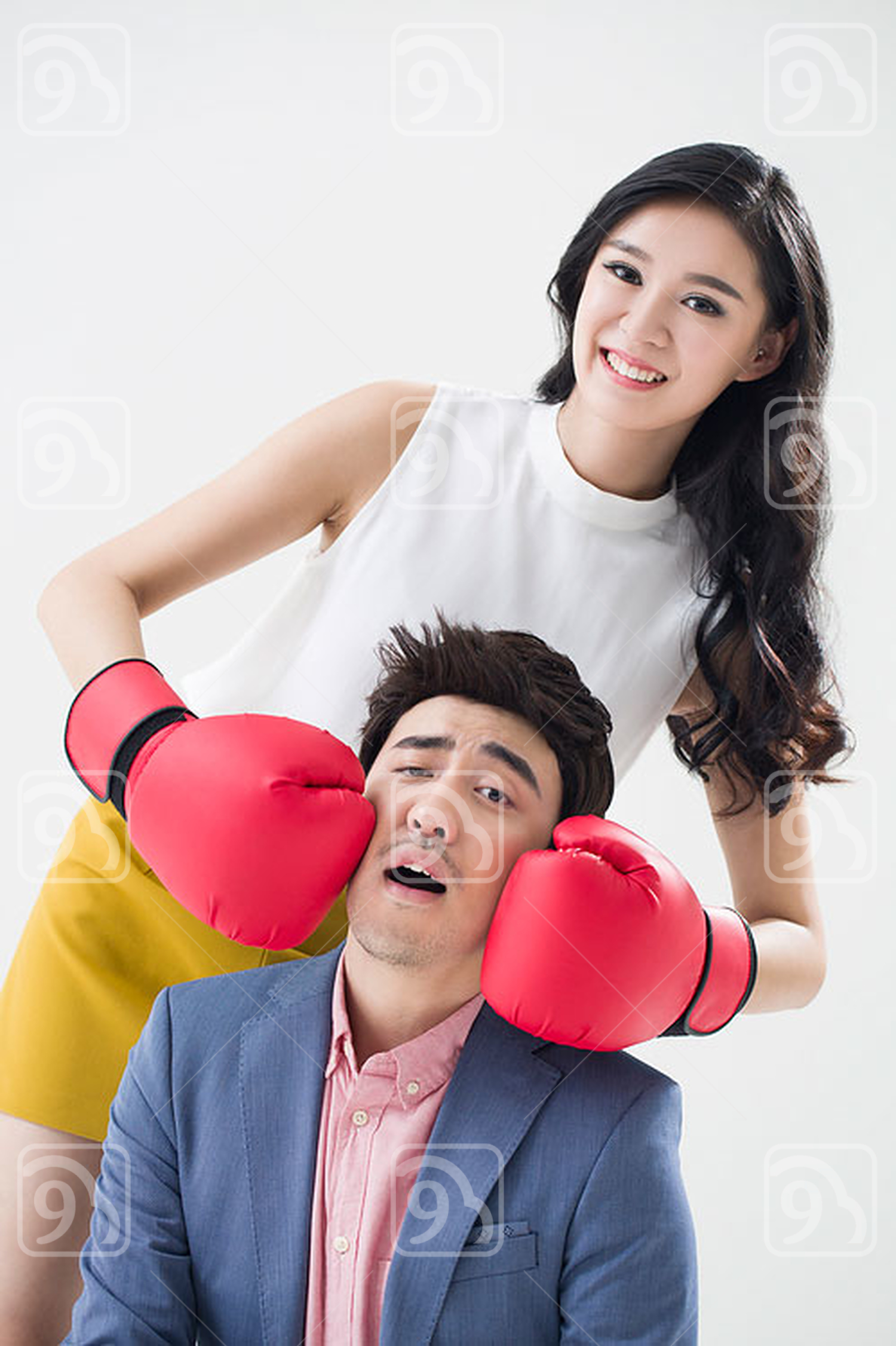 Humorous young Chinese couple