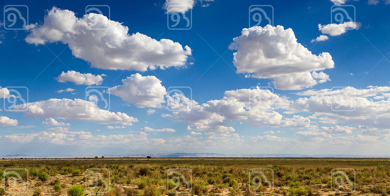 Sky and prairie in Gansu province, China