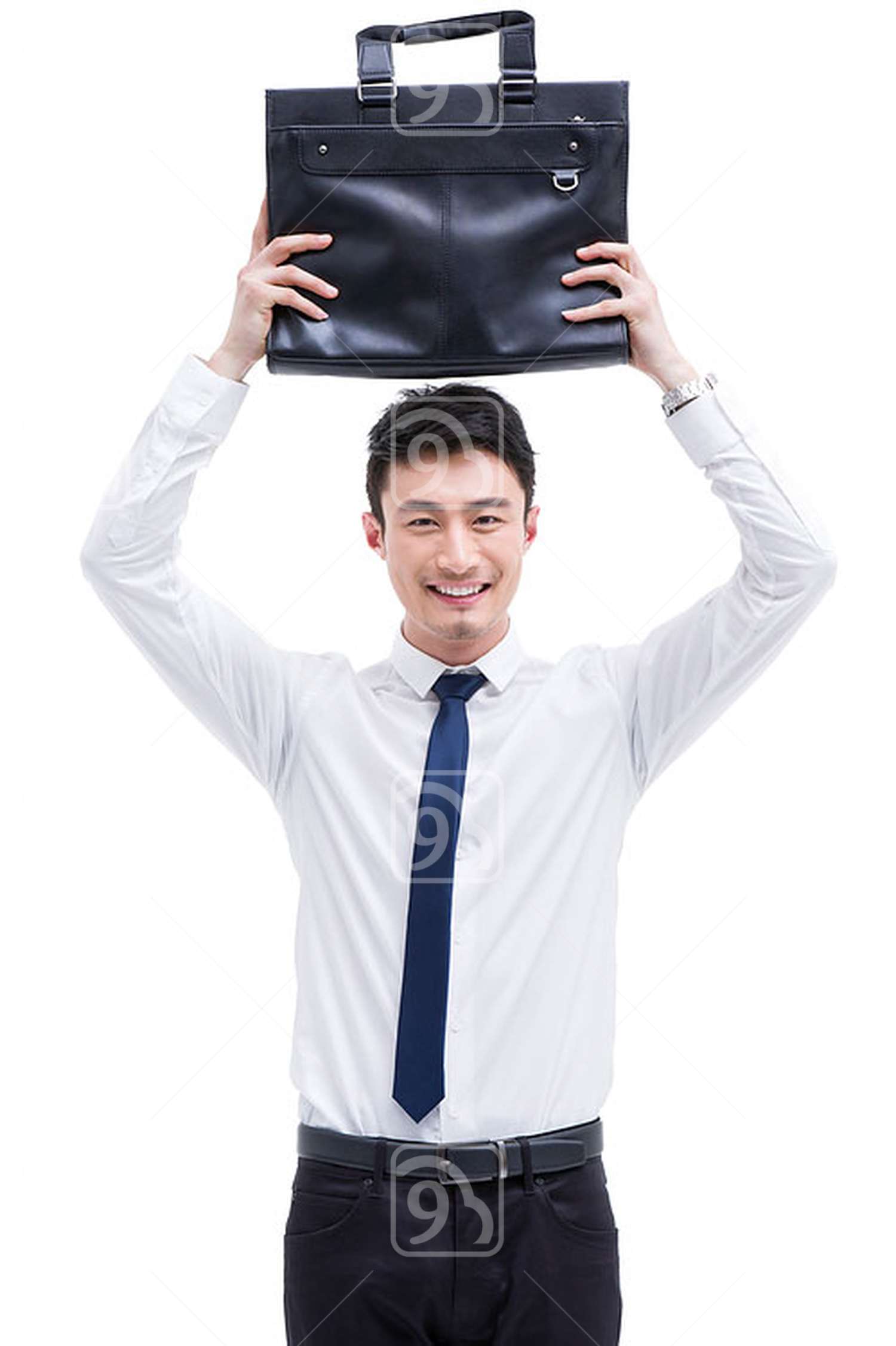 Fashionable Chinese businessman showing briefcase