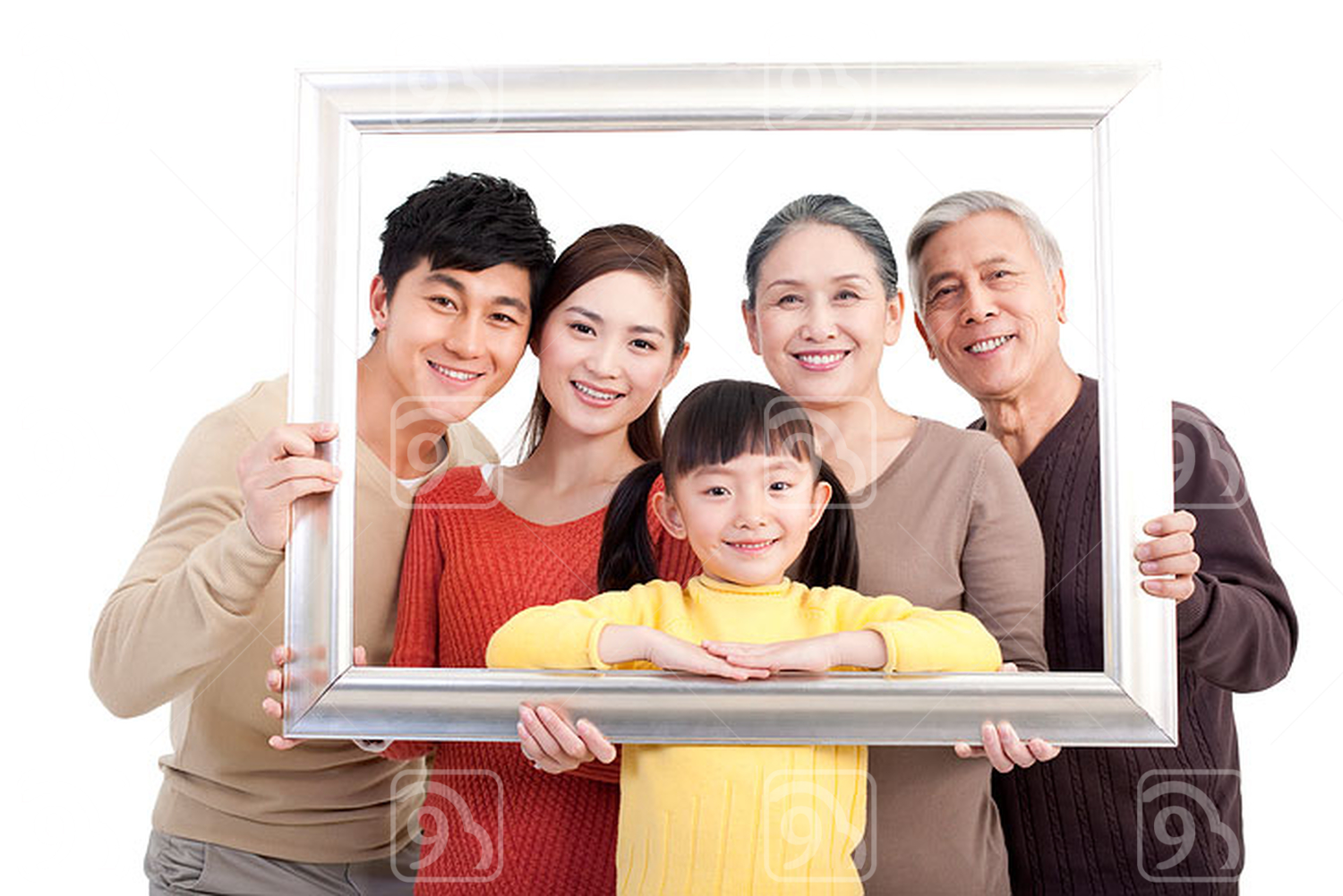 Happy Chinese family and picture frame